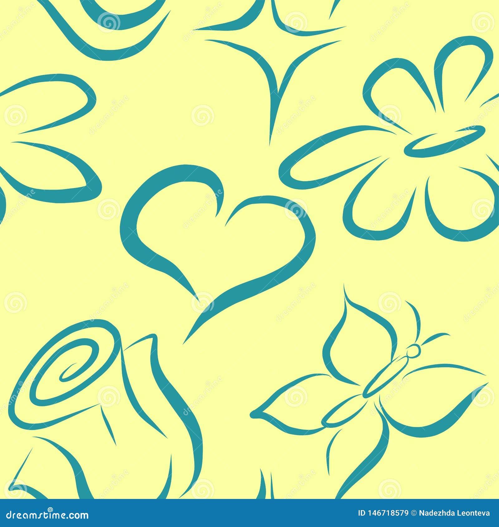 Modèle sans couture de vecteur avec les fleurs et le coeur