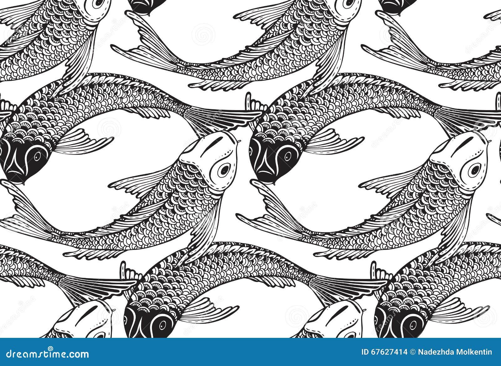 Modèle sans couture de vecteur avec les poissons tirés par la main de Koi