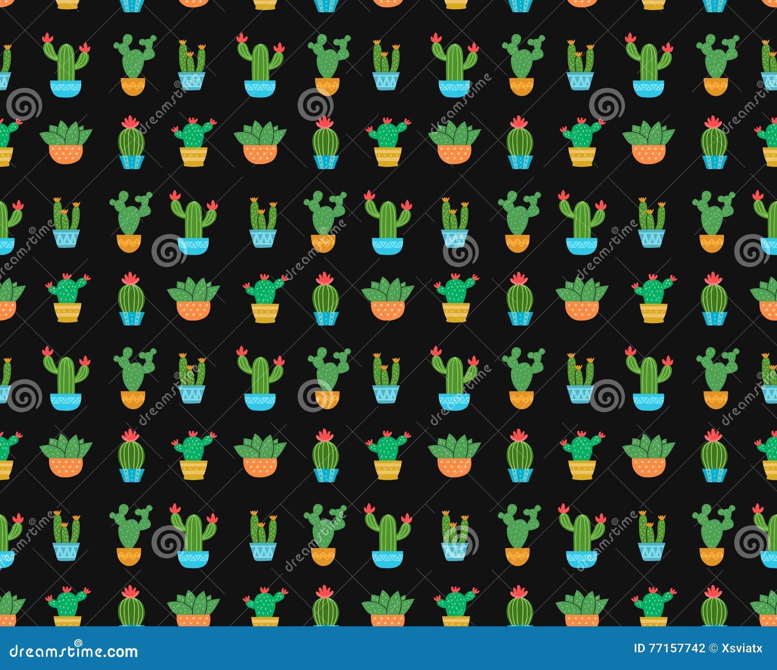 Modèle sans couture de vecteur d illustration plate de conception de cactus