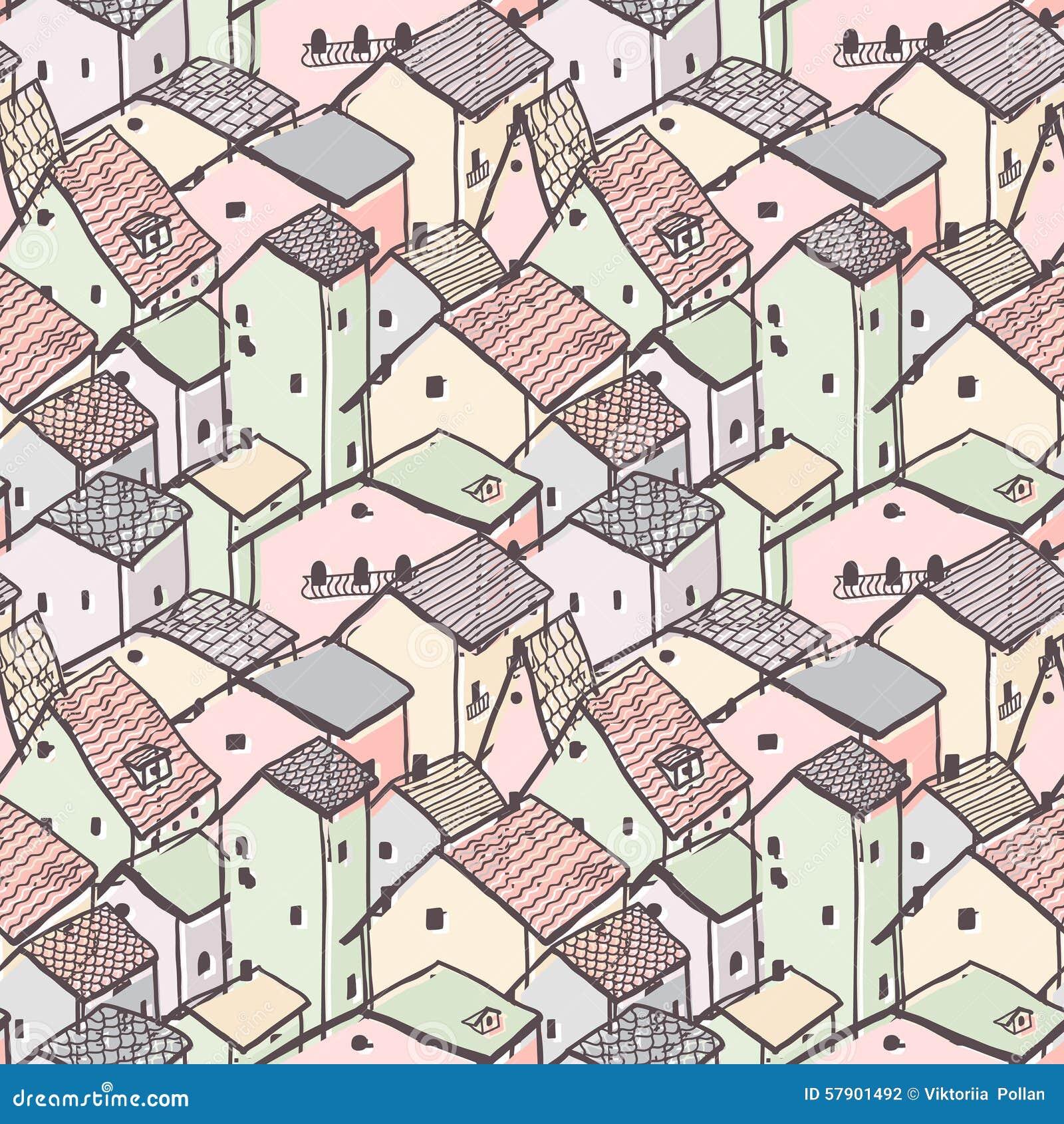 Modèle sans couture de vecteur de maison naïve mignonne modèle de ville configuration multicolore dessin de style denfants
