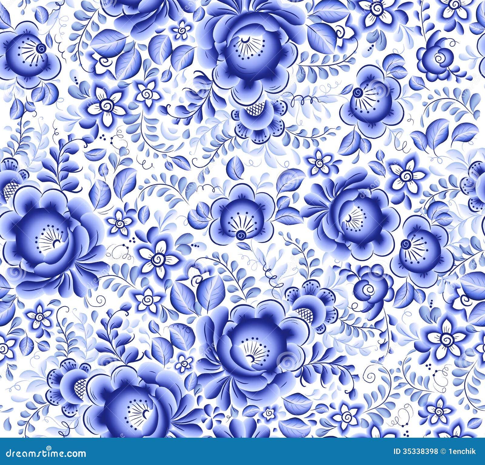 Modèle sans couture de vecteur floral bleu de textile