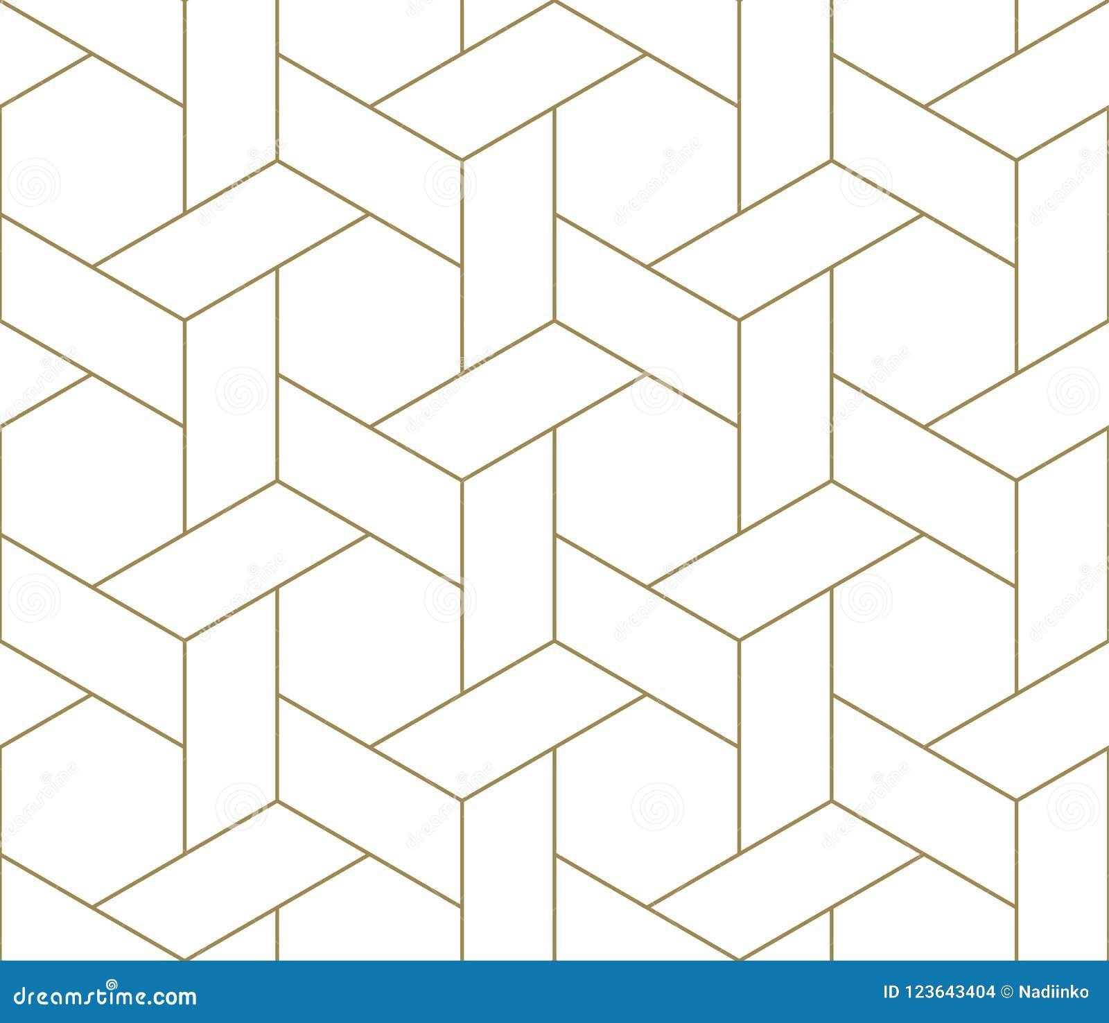 Modèle sans couture de vecteur géométrique simple moderne avec la ligne texture d or sur le fond blanc Papier peint abstrait lége