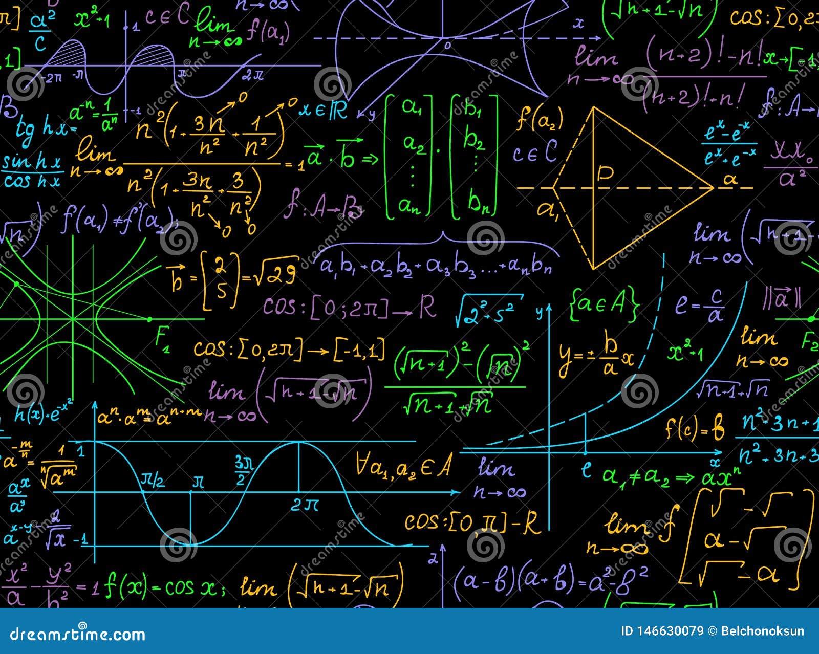Modèle Sans Couture De Vecteur Mathématique Avec Des Formules Multicolores Manuscrites De Maths ...