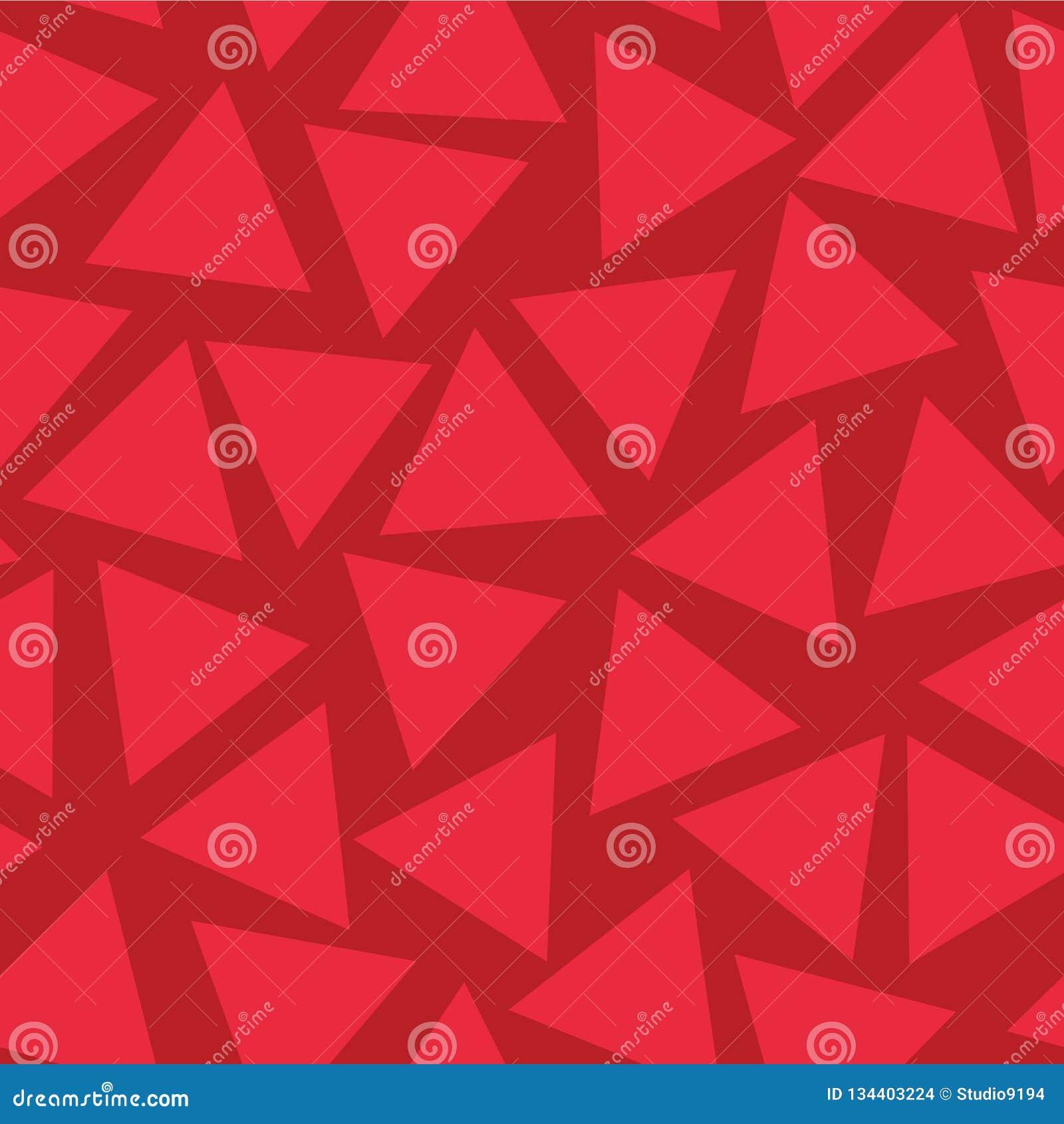 Modèle sans couture de vecteur de triangles rouges Aléatoirement placé Fond rouge subtil de tonalités Répétition dispersée géomét