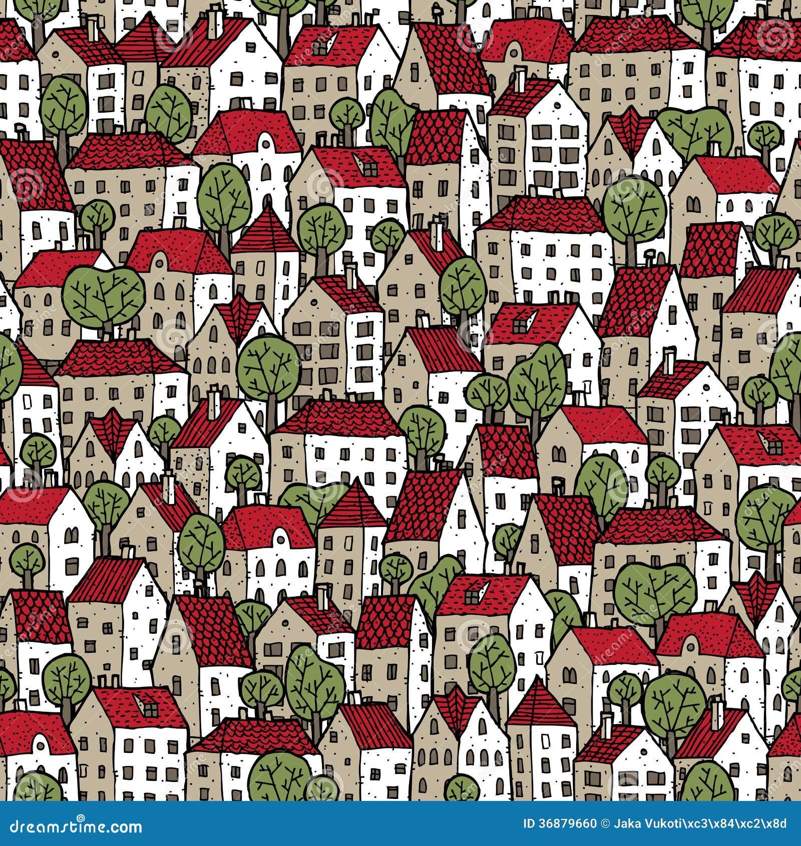 Modèle sans couture de ville en couleurs avec des arbres