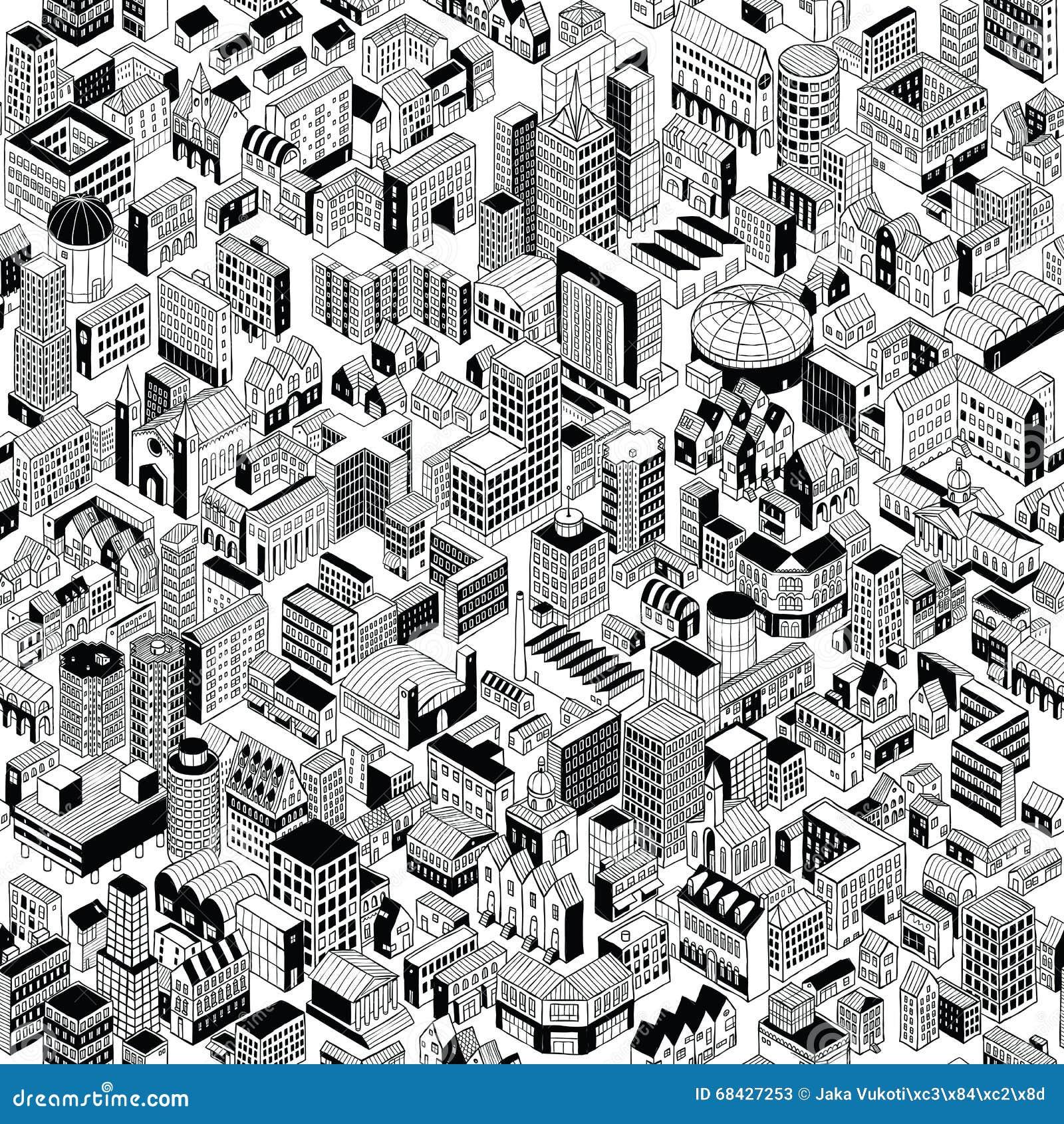 Modèle sans couture de ville isométrique