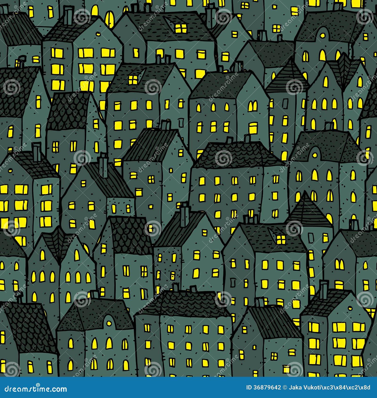 Modèle sans couture de ville la nuit