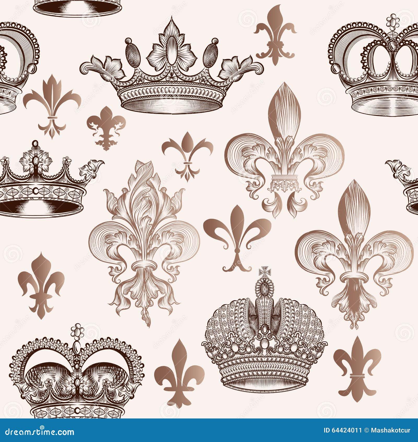 Modèle sans couture de vintage avec des couronnes et fleur de lis pour la conception