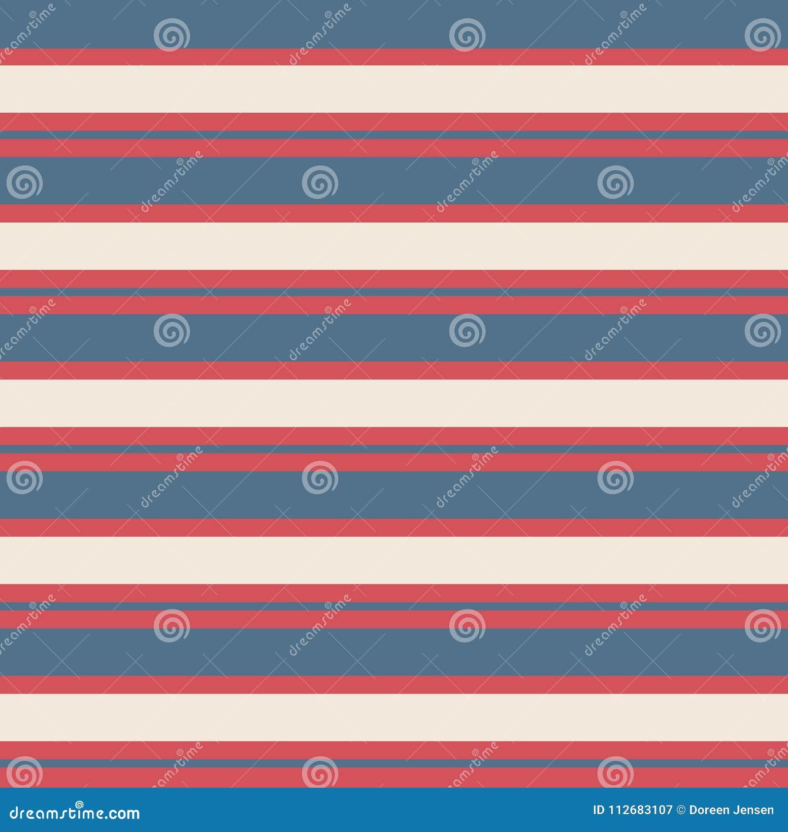 Modèle sans couture de vintage de rayure avec le fond de rayures rouges, bleu et crème parallèle horizontal coloré