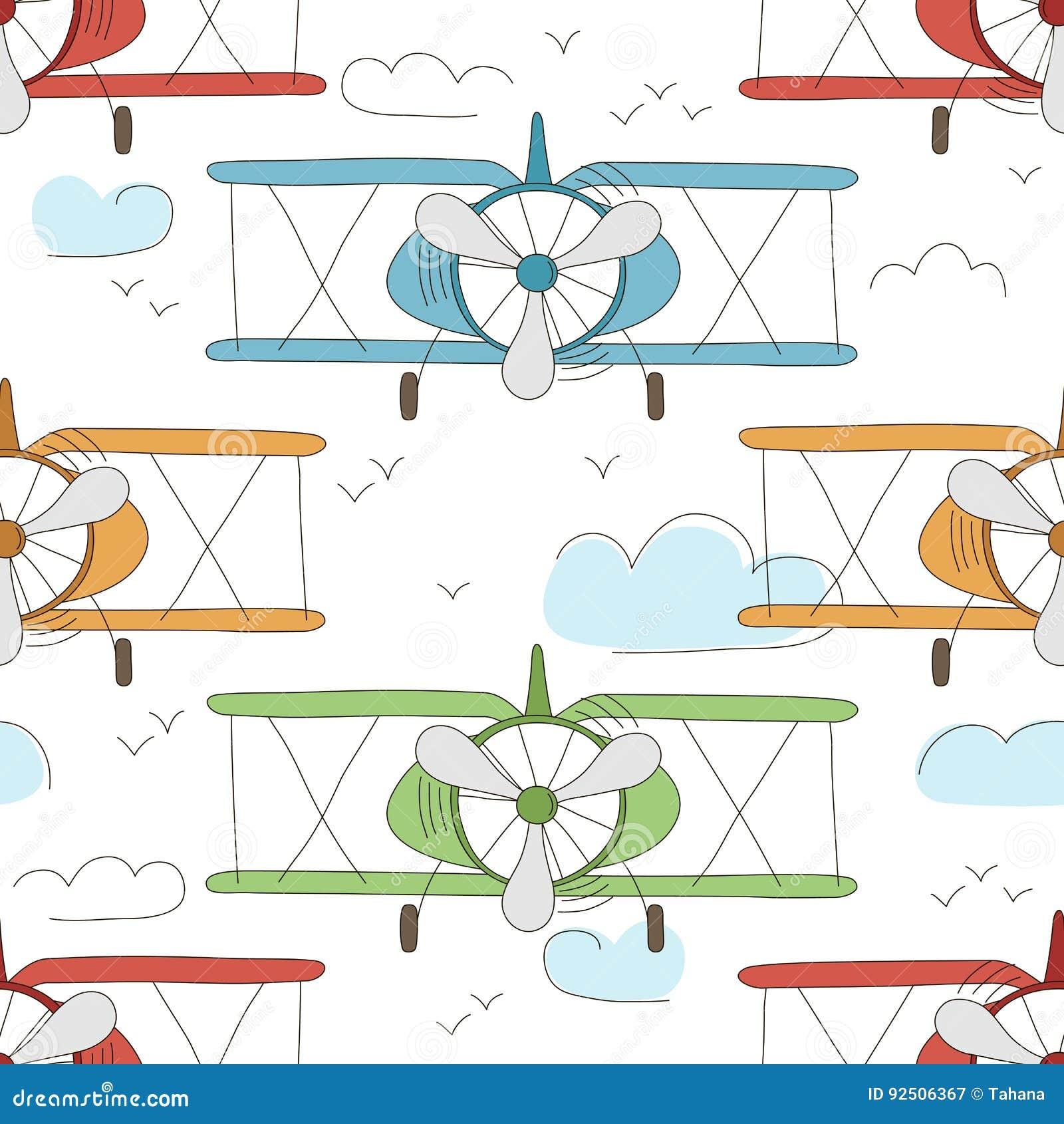 Modèle sans couture de vintage tiré par la main de vecteur avec de petits avions mignons en ciel avec des nuages Fond rêveur d av