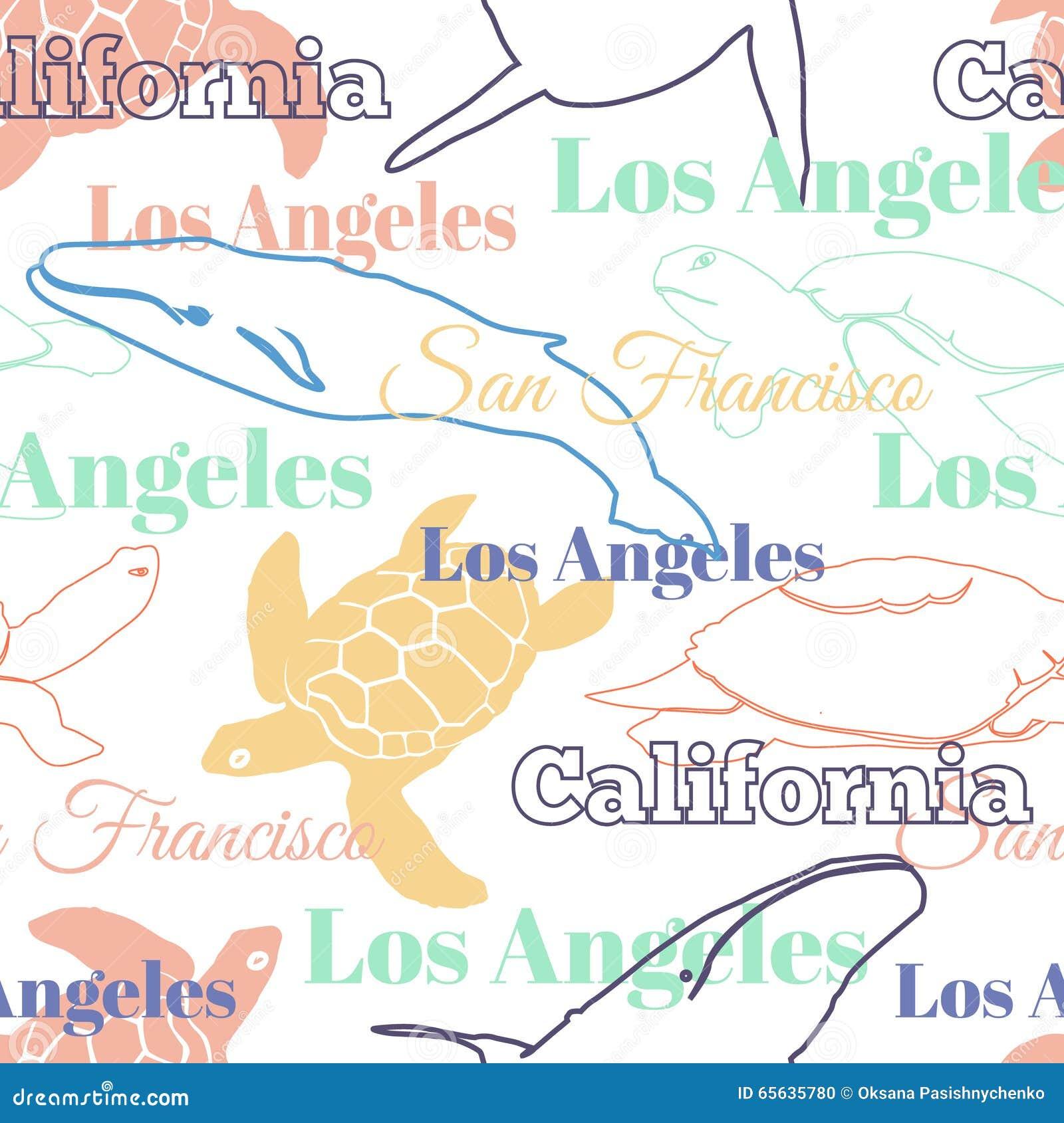 Modèle sans couture de voyage de vecteur de la Californie d animaux colorés de villes avec Los Angeles, San Francisco, tortues, e