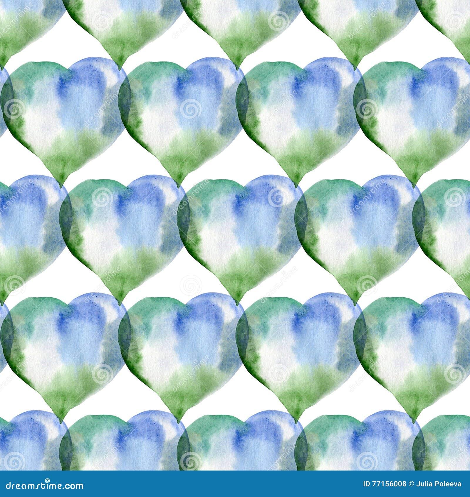 Modèle sans couture des coeurs bleus et verts Rose rouge Wate