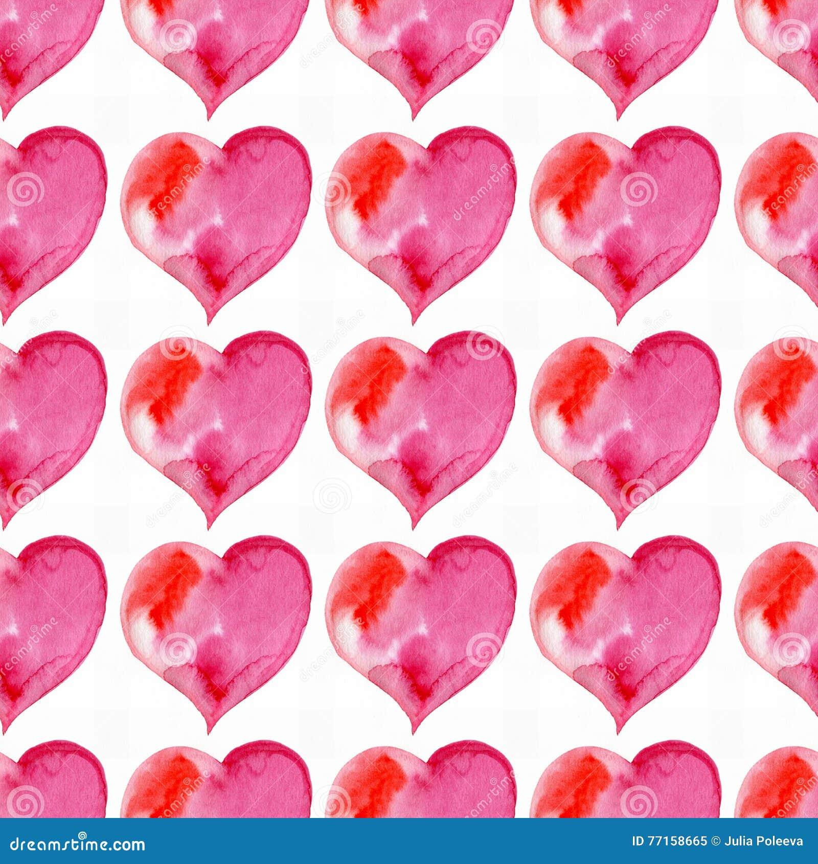Modèle sans couture des coeurs roses Jour de Valentine watercolor