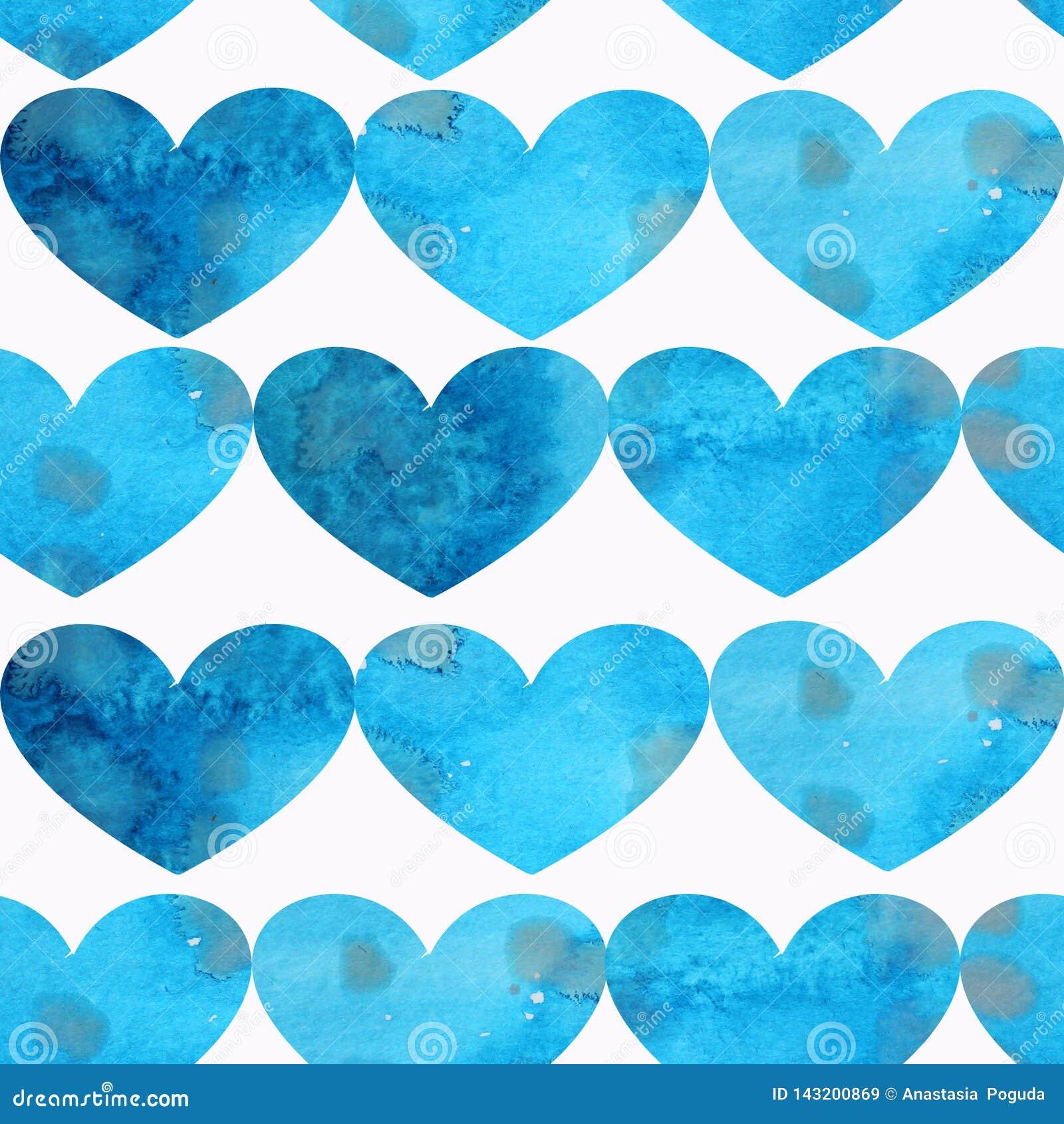 Modèle sans couture des coeurs texturisés bleus sur un fond blanc
