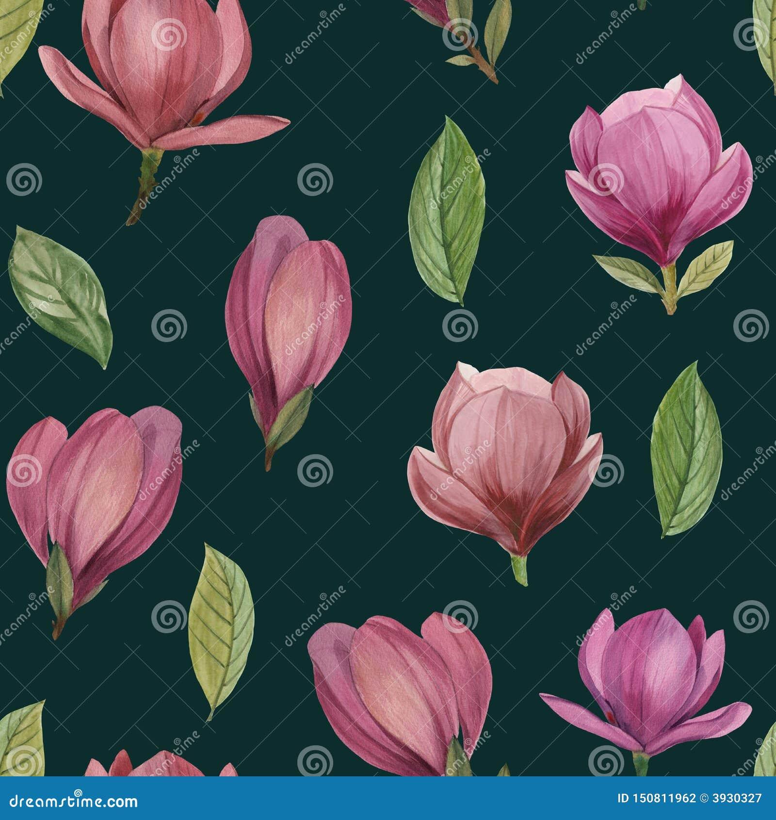 Modèle sans couture des fleurs et des feuilles de la magnolia