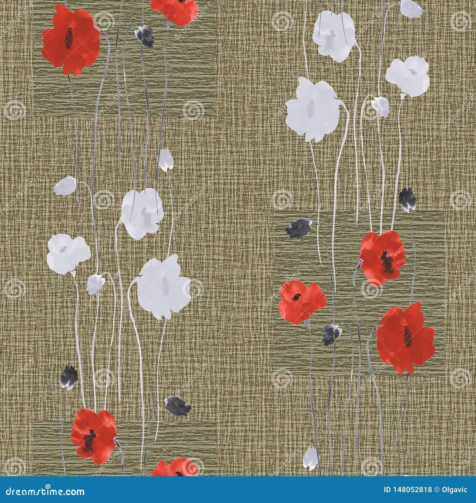Modèle sans couture des fleurs rouges et blanches sauvages du pavot sur un fond beige profond avec des places watercolor