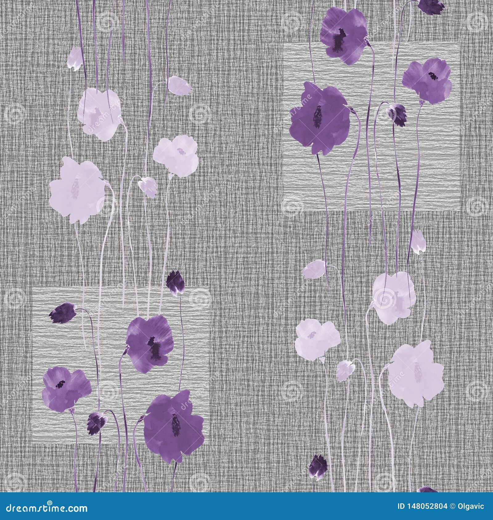 Modèle sans couture des fleurs violettes sauvages sur un fond gris avec des places watercolor