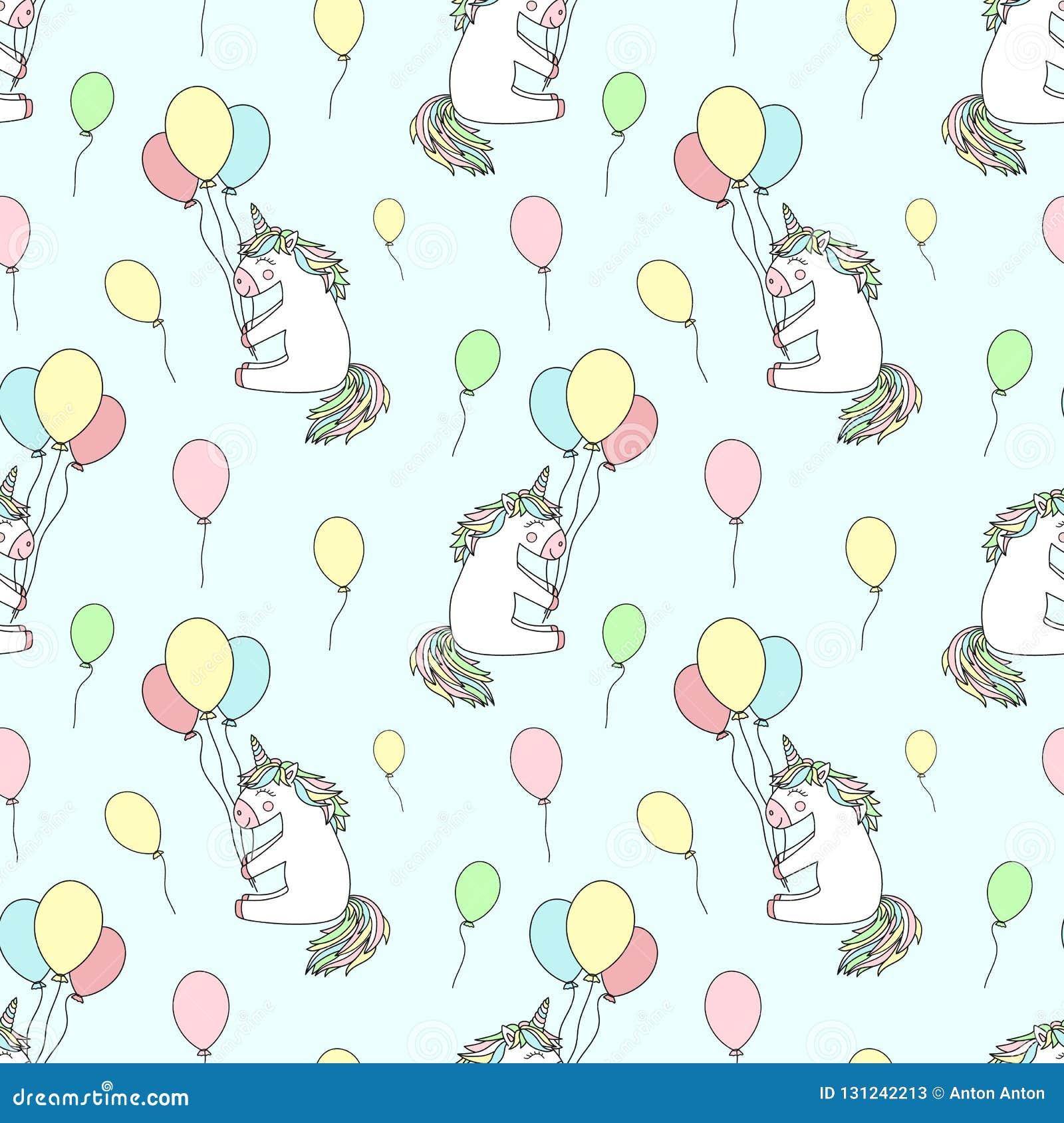 Modèle sans couture des licornes de sourire cartoony tirées par la main avec des ballons Le fond d image de vecteur pour des vaca