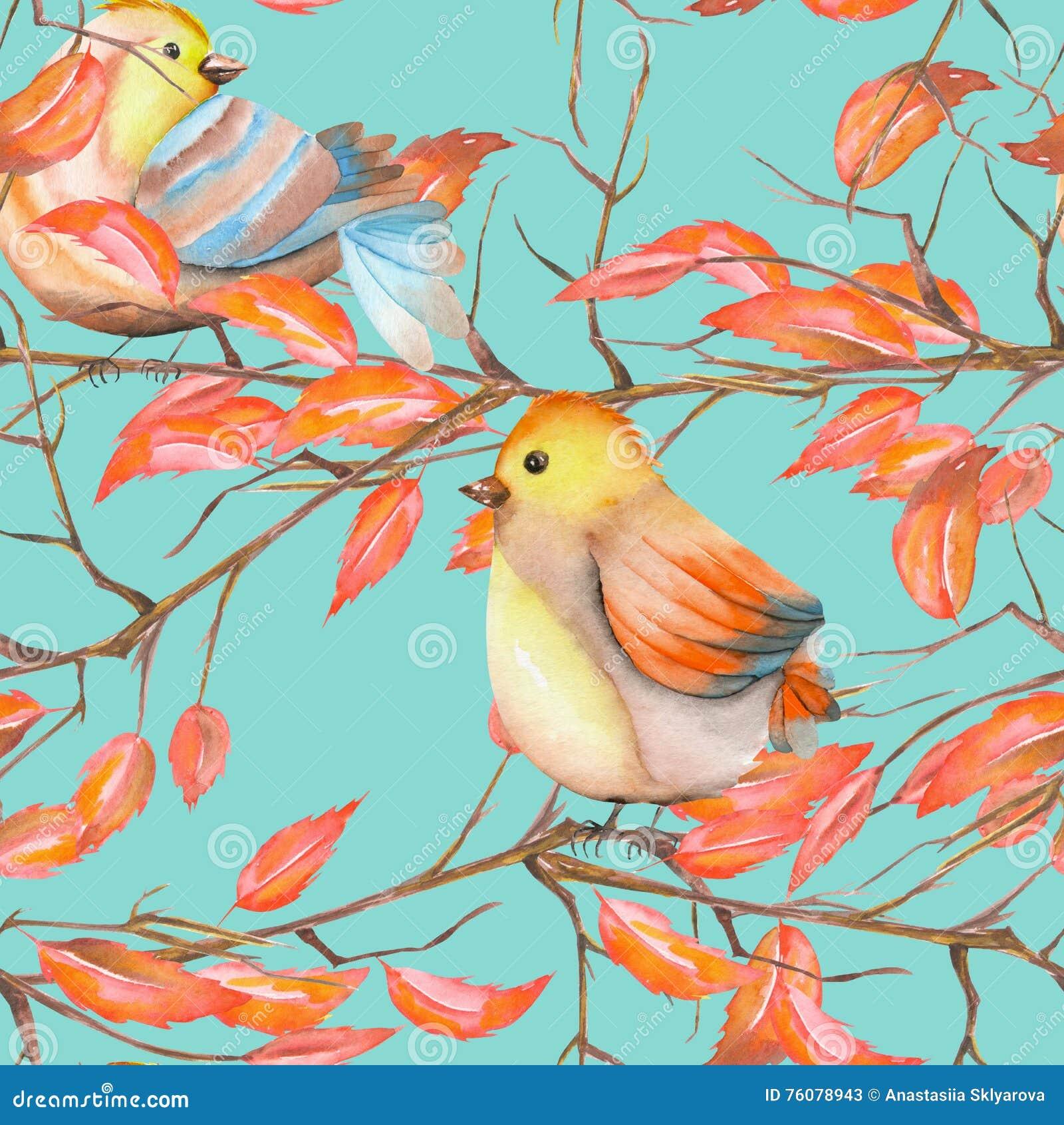 Modèle sans couture des oiseaux d aquarelle sur les branches avec les feuilles rouges, tiré par la main sur un fond bleu