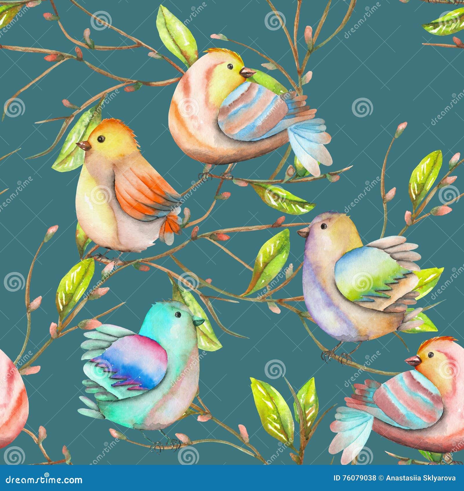 Modèle sans couture des oiseaux d aquarelle sur les branches, tiré par la main sur un fond bleu-foncé