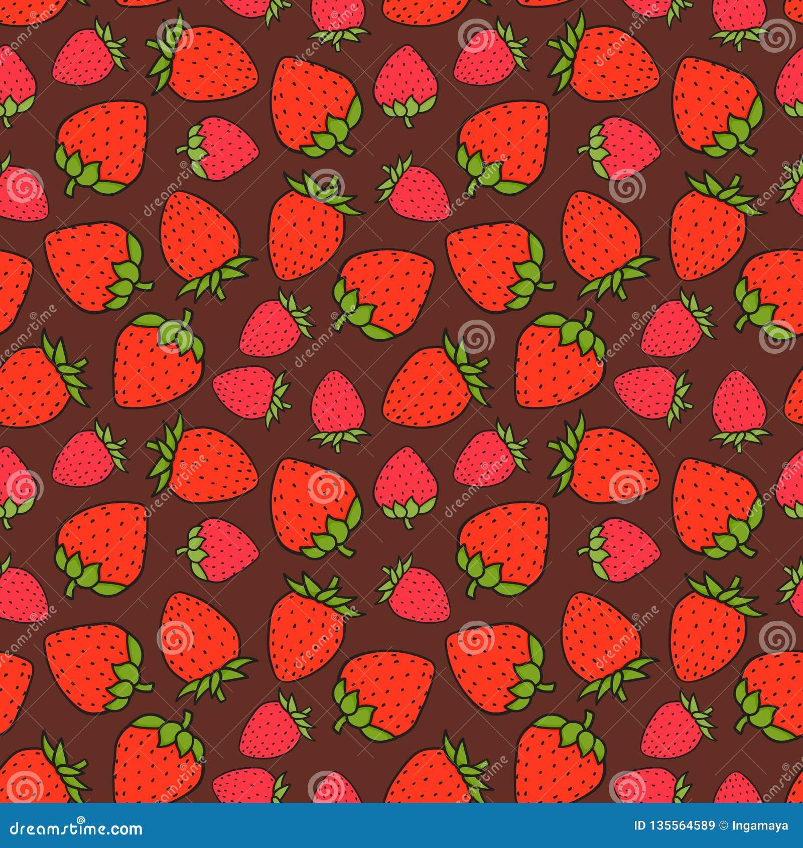 Modèle sans couture doux de fraise Texture extérieure de conception Illustration tirée par la main de vecteur sur le fond de choc