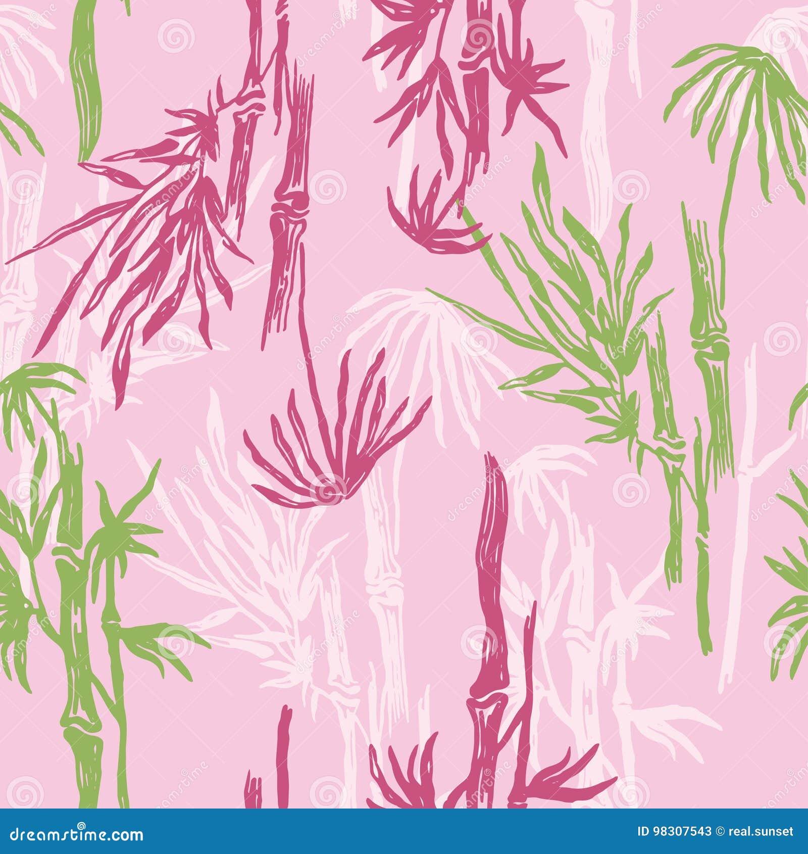 Modele Sans Couture En Bambou Sur Le Fond Rose Papier Peint Tropical