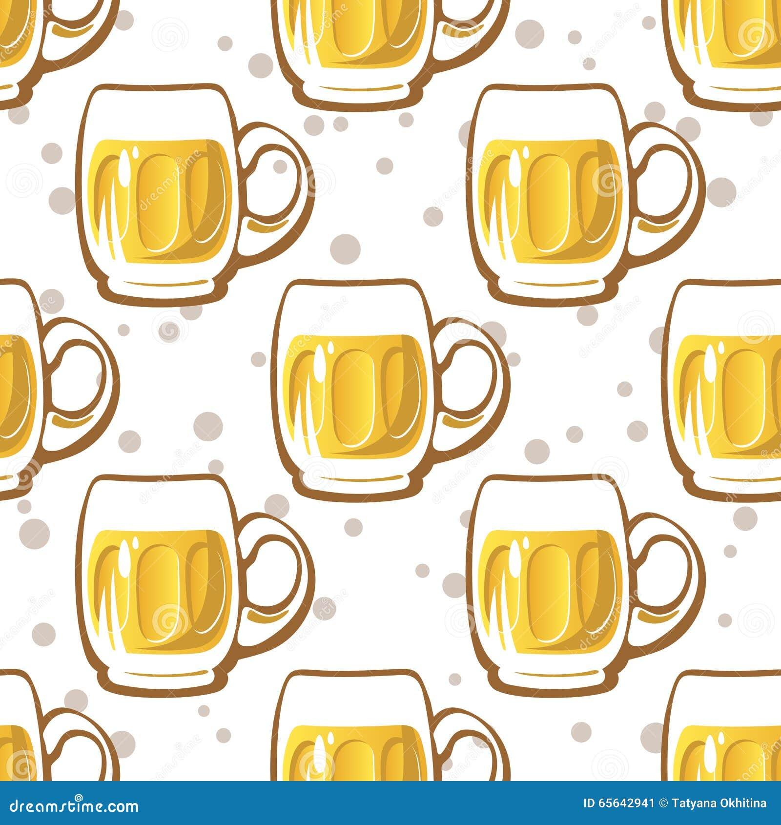 Modèle sans couture en verre de bière