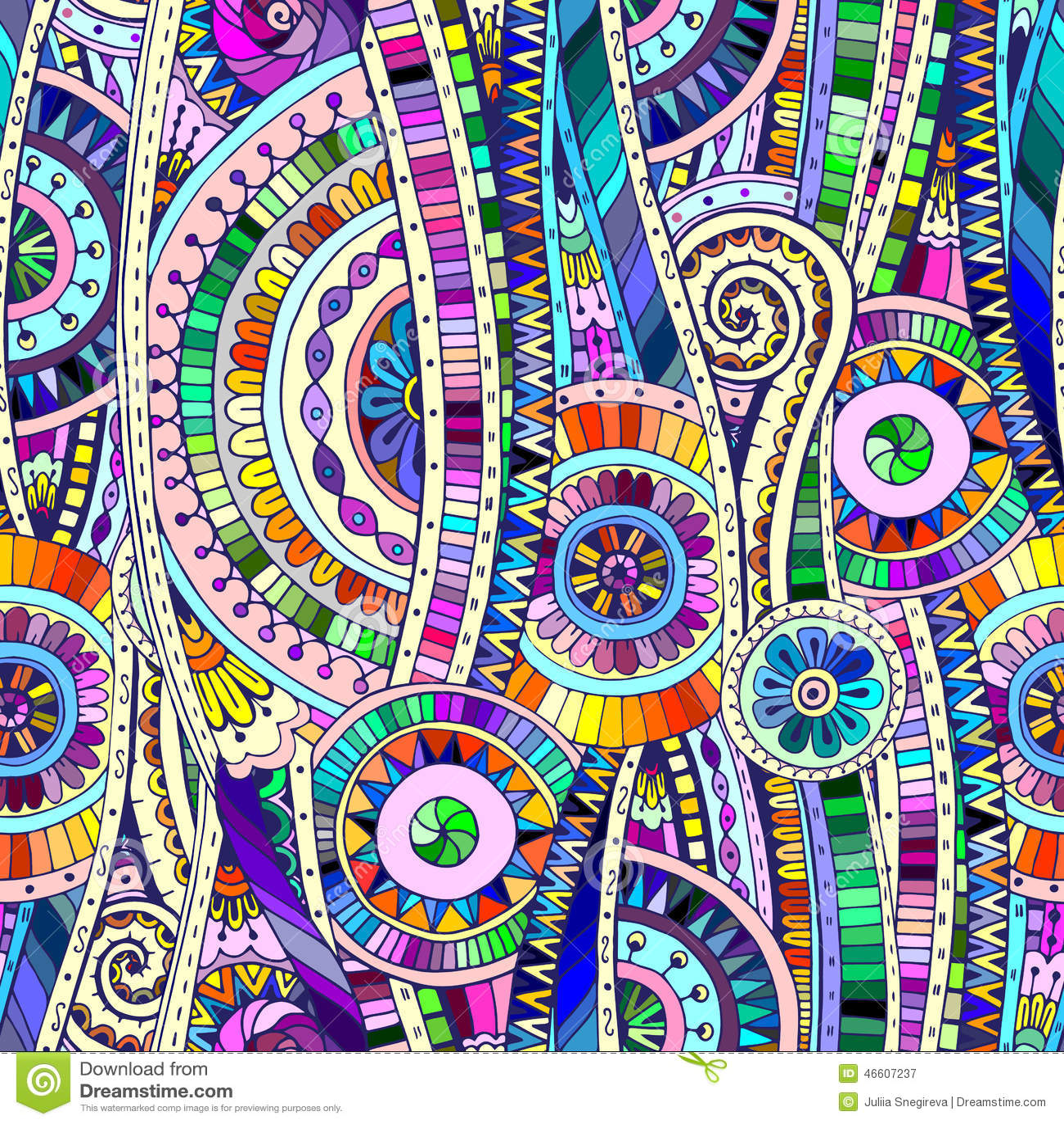 Modèle sans couture ethnique de doddle tribal de mosaïque