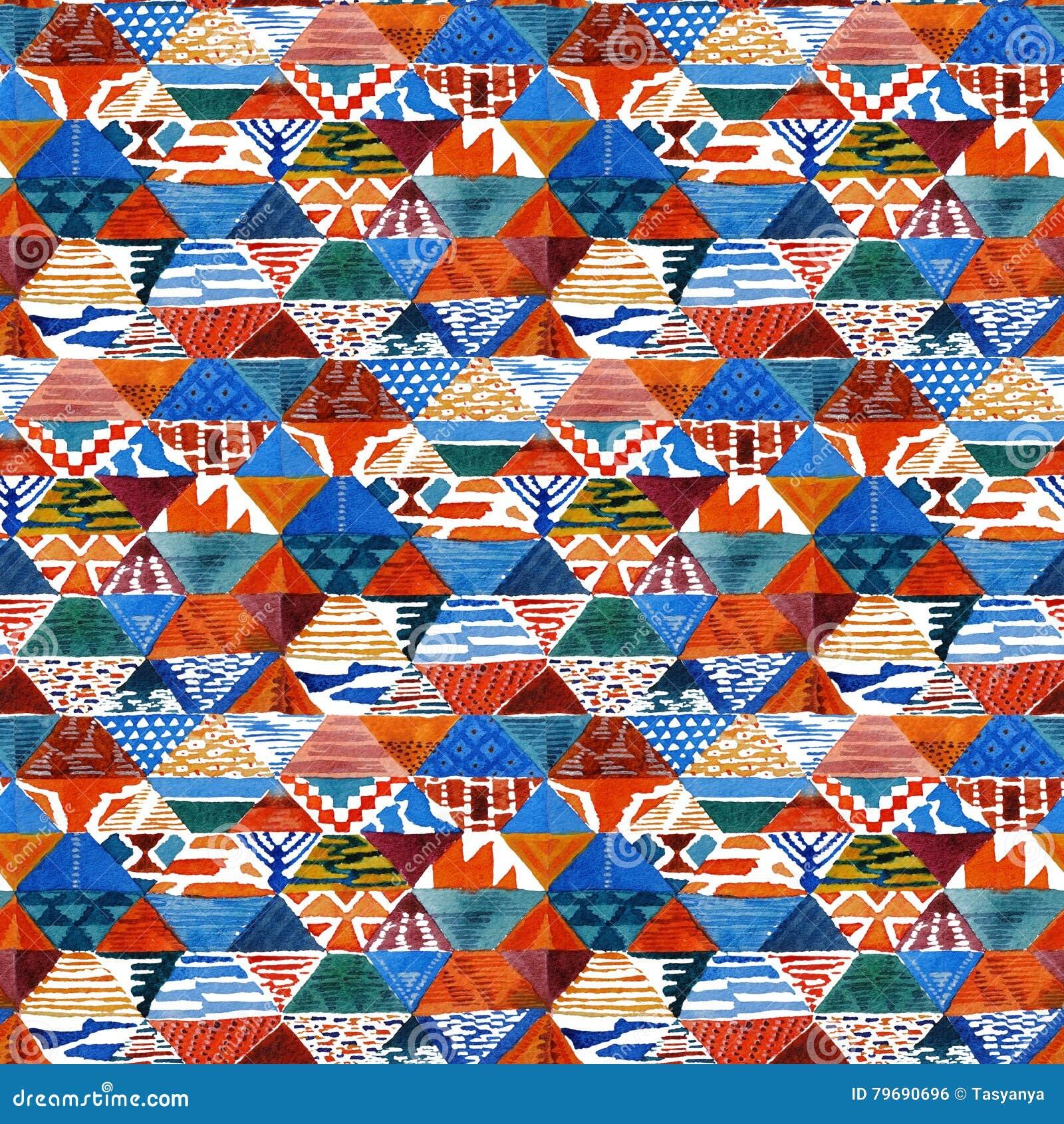 Modèle sans couture ethnique de patchwork de kilim d ikat d aquarelle