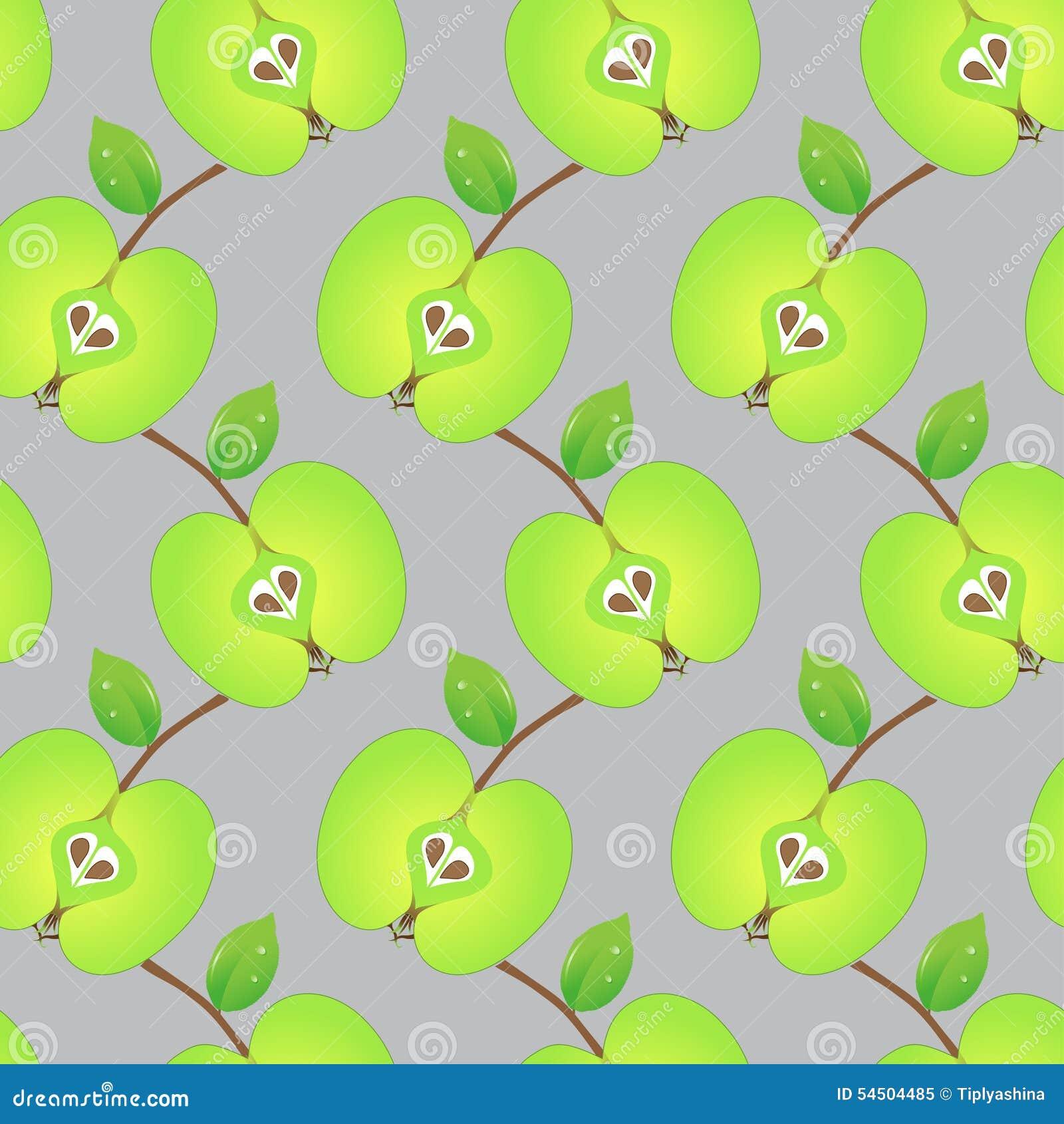 Modèle sans couture fait de pommes vertes coupées en tranches