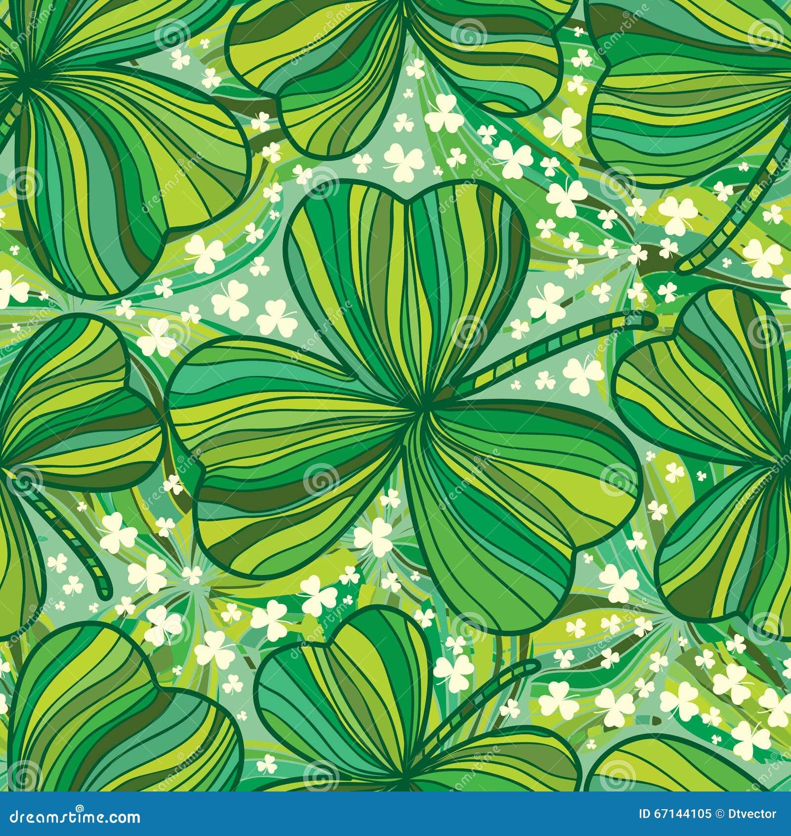 Modèle sans couture feuille du jour de St Patrick de dessin au trait