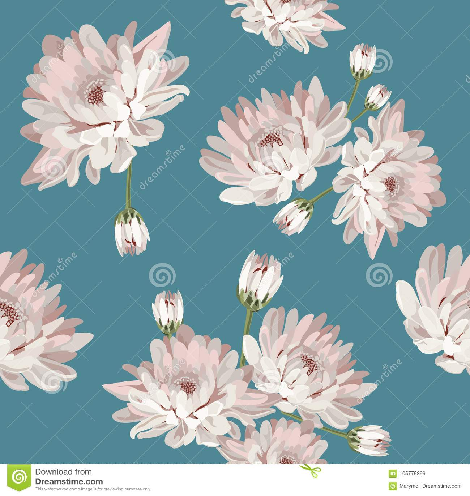 Modèle sans couture floral avec des chrysanthèmes