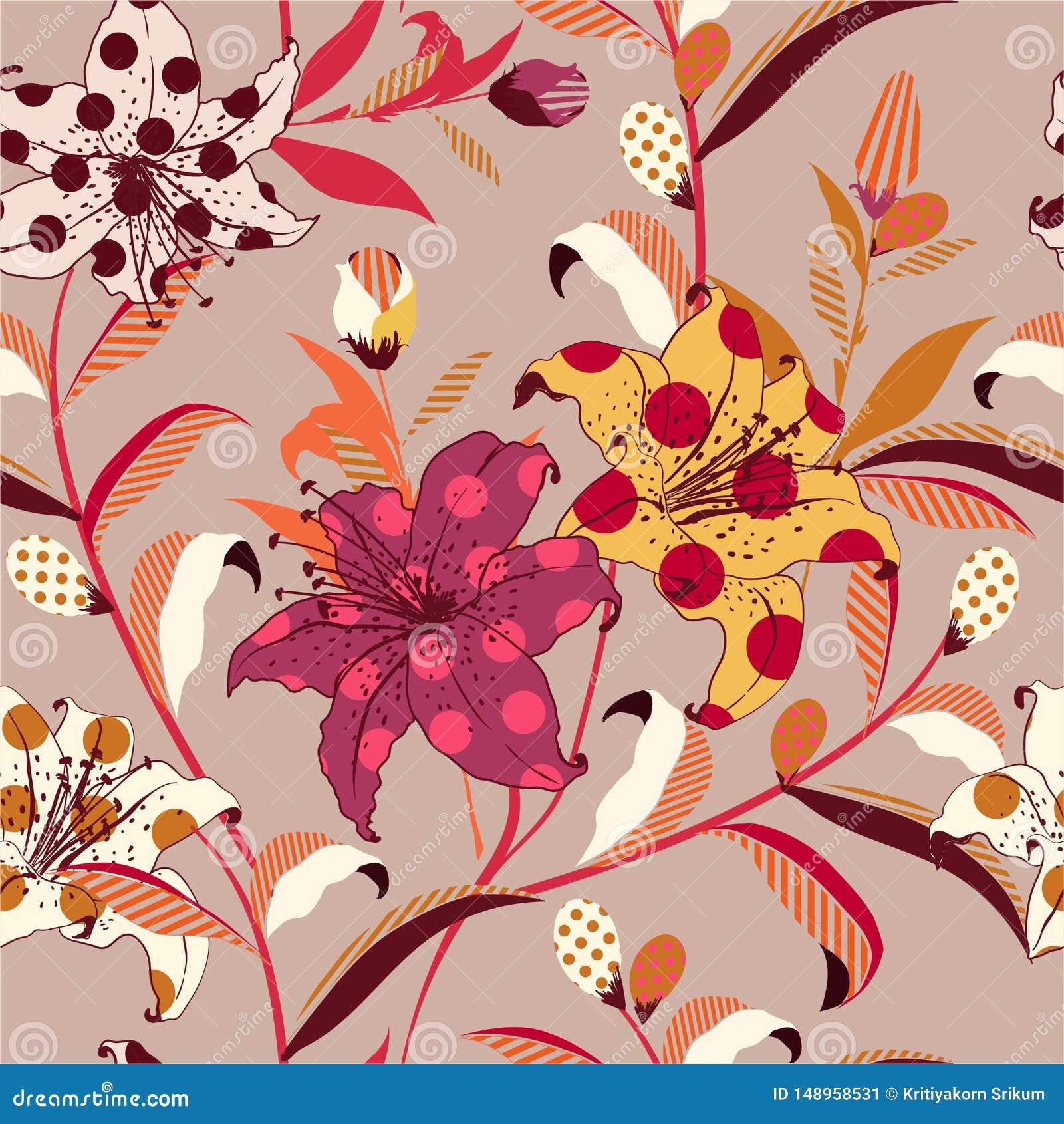 Modèle sans couture floral de rétro vecteur à la mode sur le style coloré d art de bruit d appoint avec le point de polka et rayé