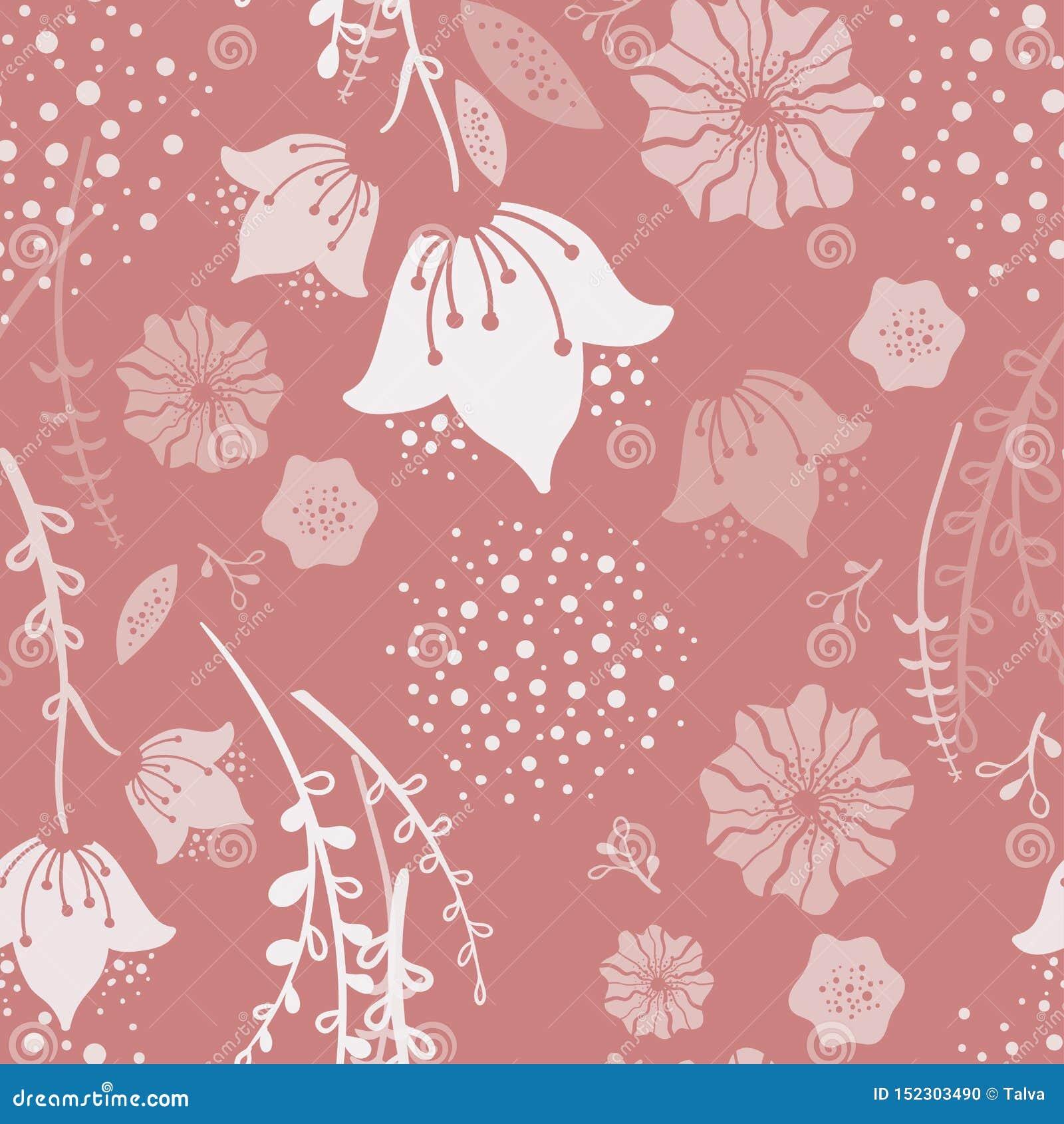 Modèle sans couture floral de ressort de corail à la mode Illustration tir?e par la main de vecteur Fleurs puériles naïves de jac