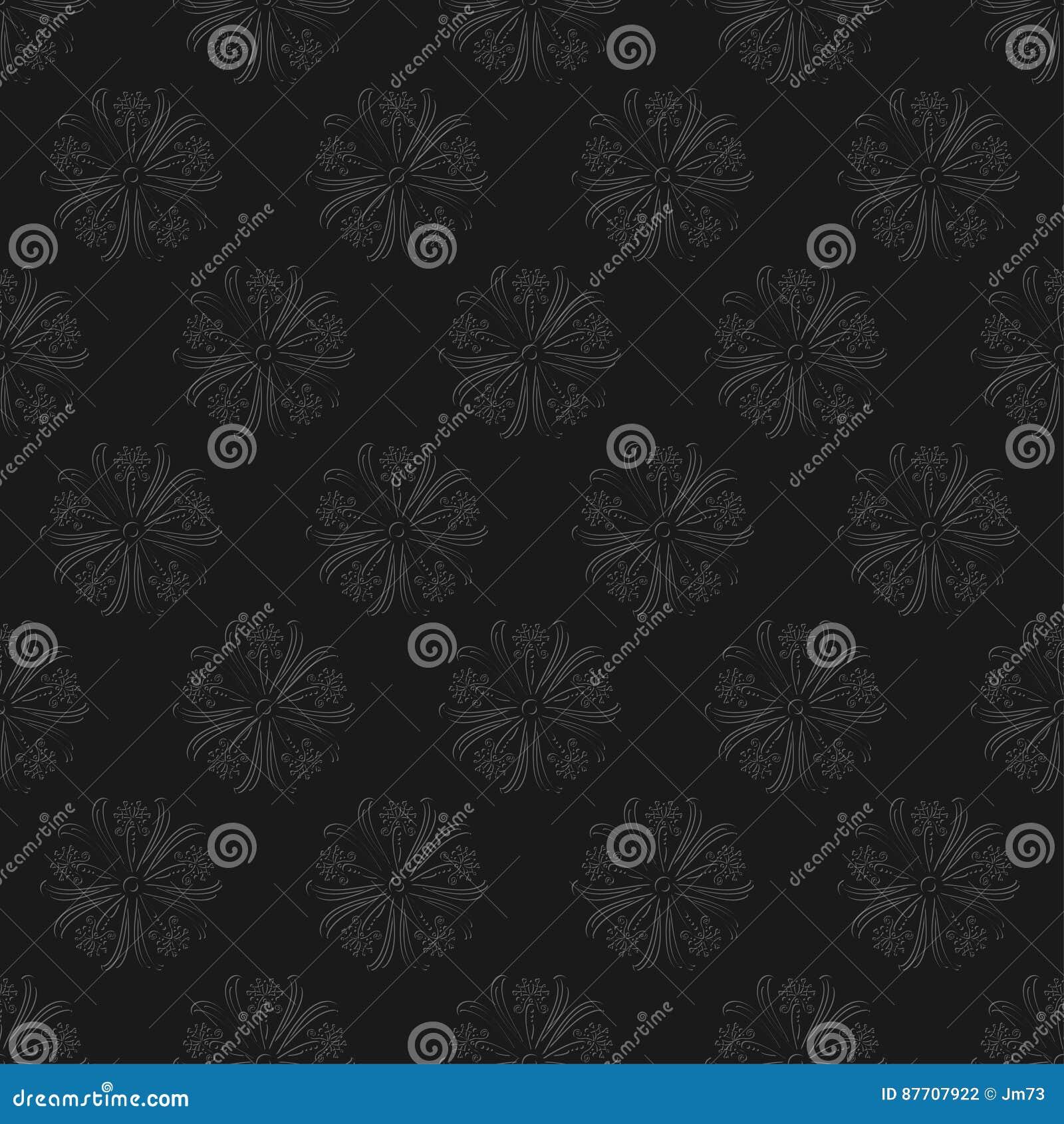 Modèle sans couture floral foncé sur le fond noir