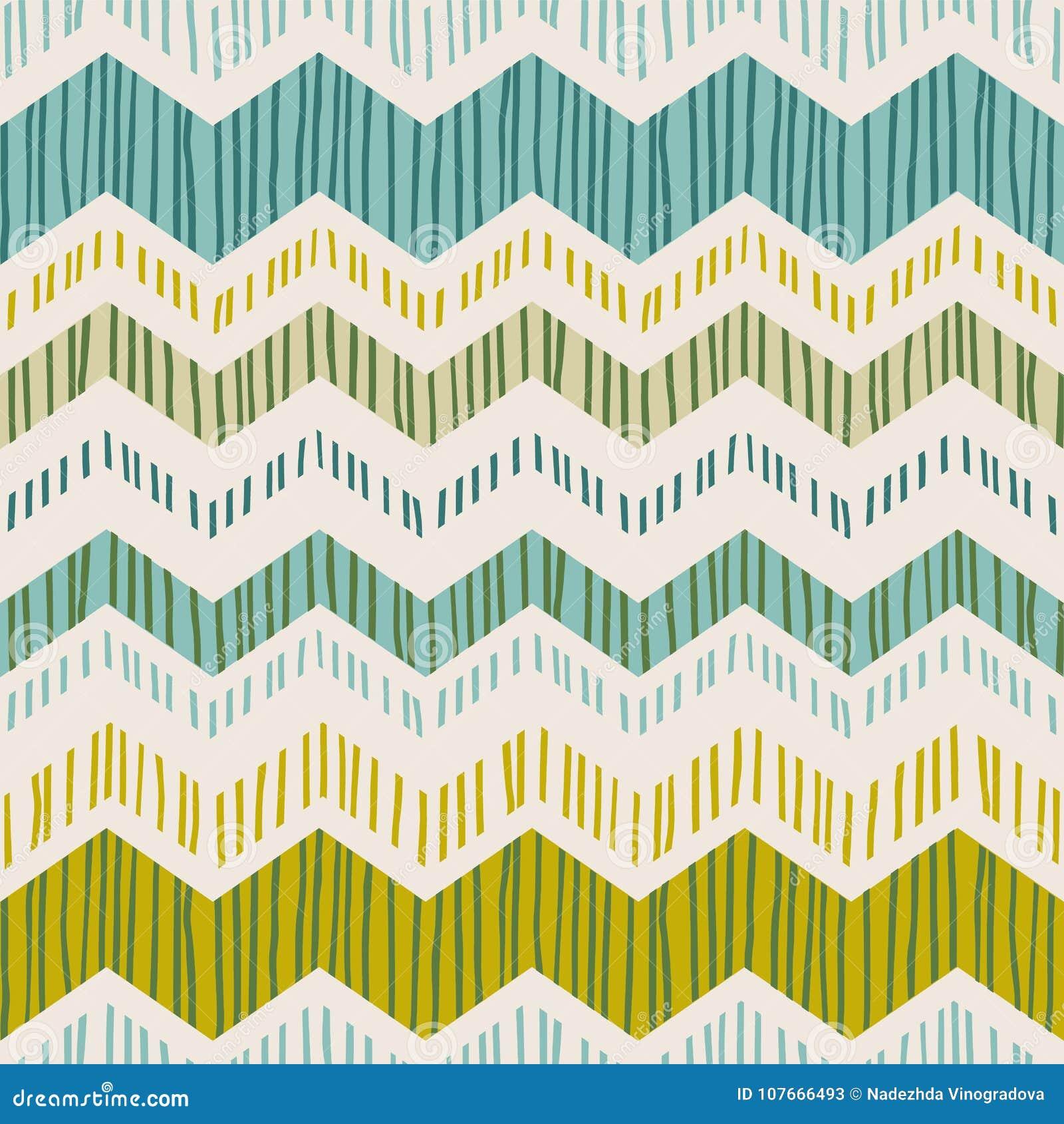 Modèle sans couture géométrique abstrait avec le zigzag Textures tirées par la main à la mode