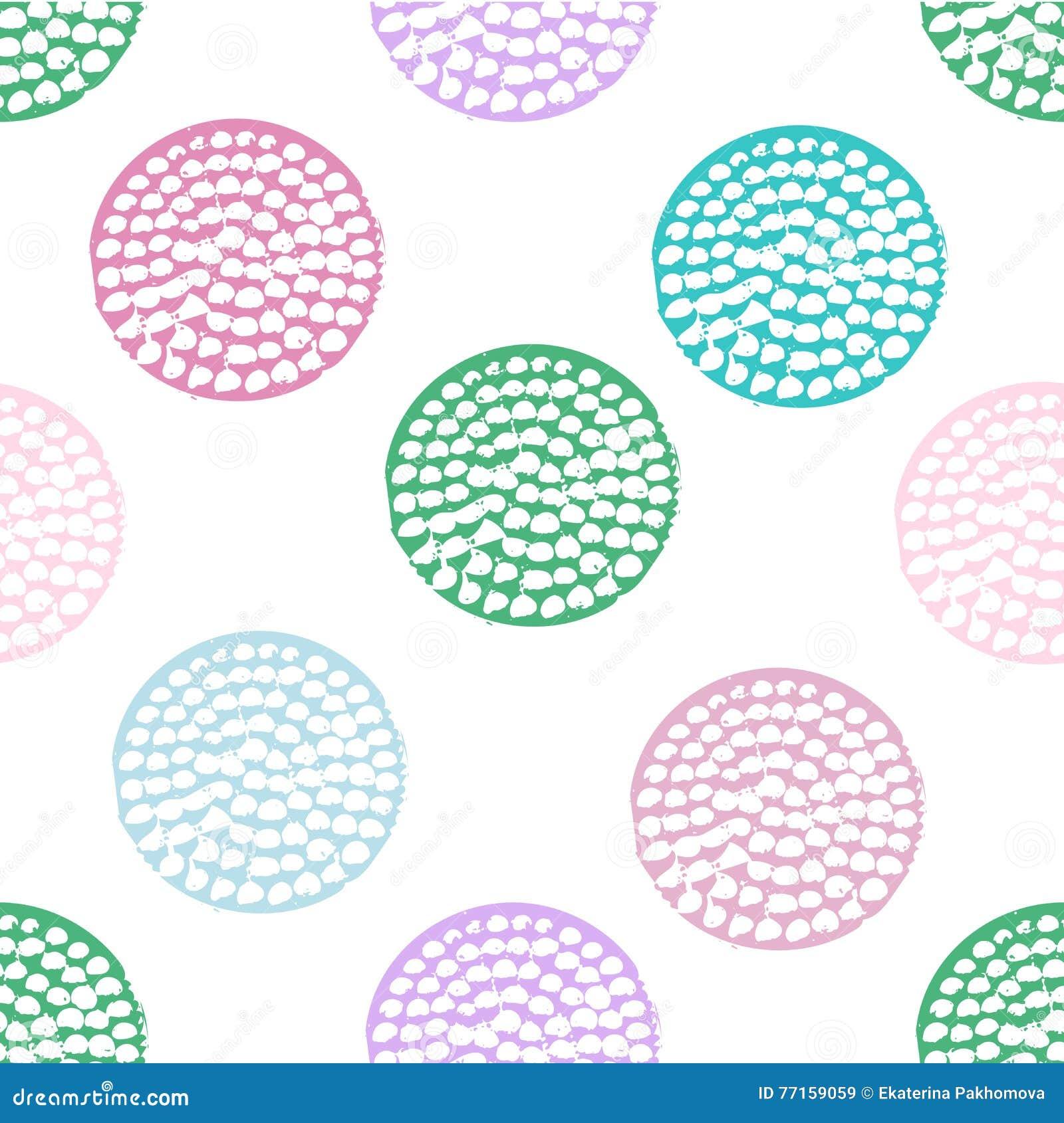 Modèle sans couture géométrique bleu, vert, rose, violet et blanc avec le point de polka grunge