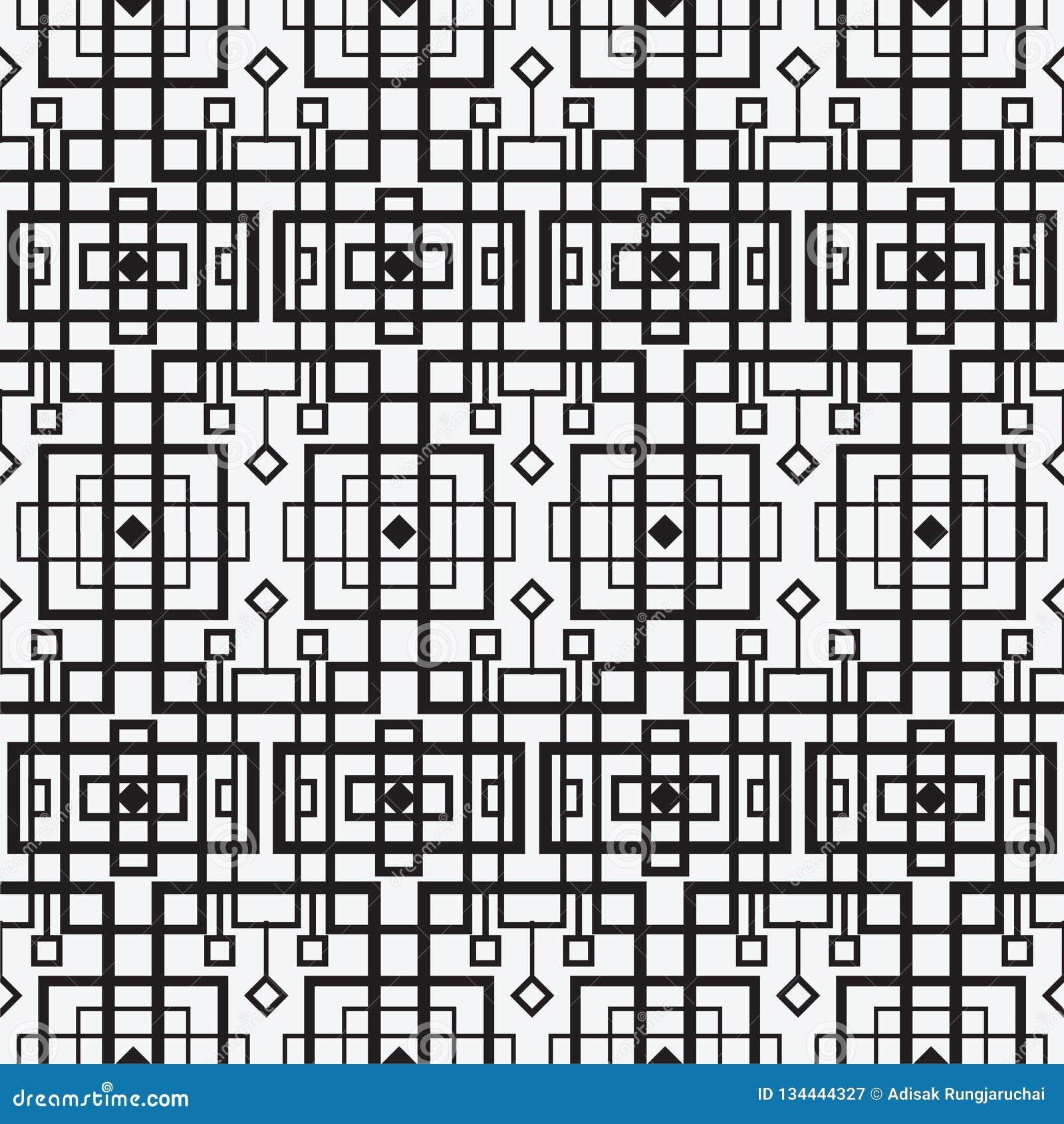 Modèle sans couture géométrique moderne de vecteur Ensemble de milieux sans couture noirs et blancs Lignes, cube