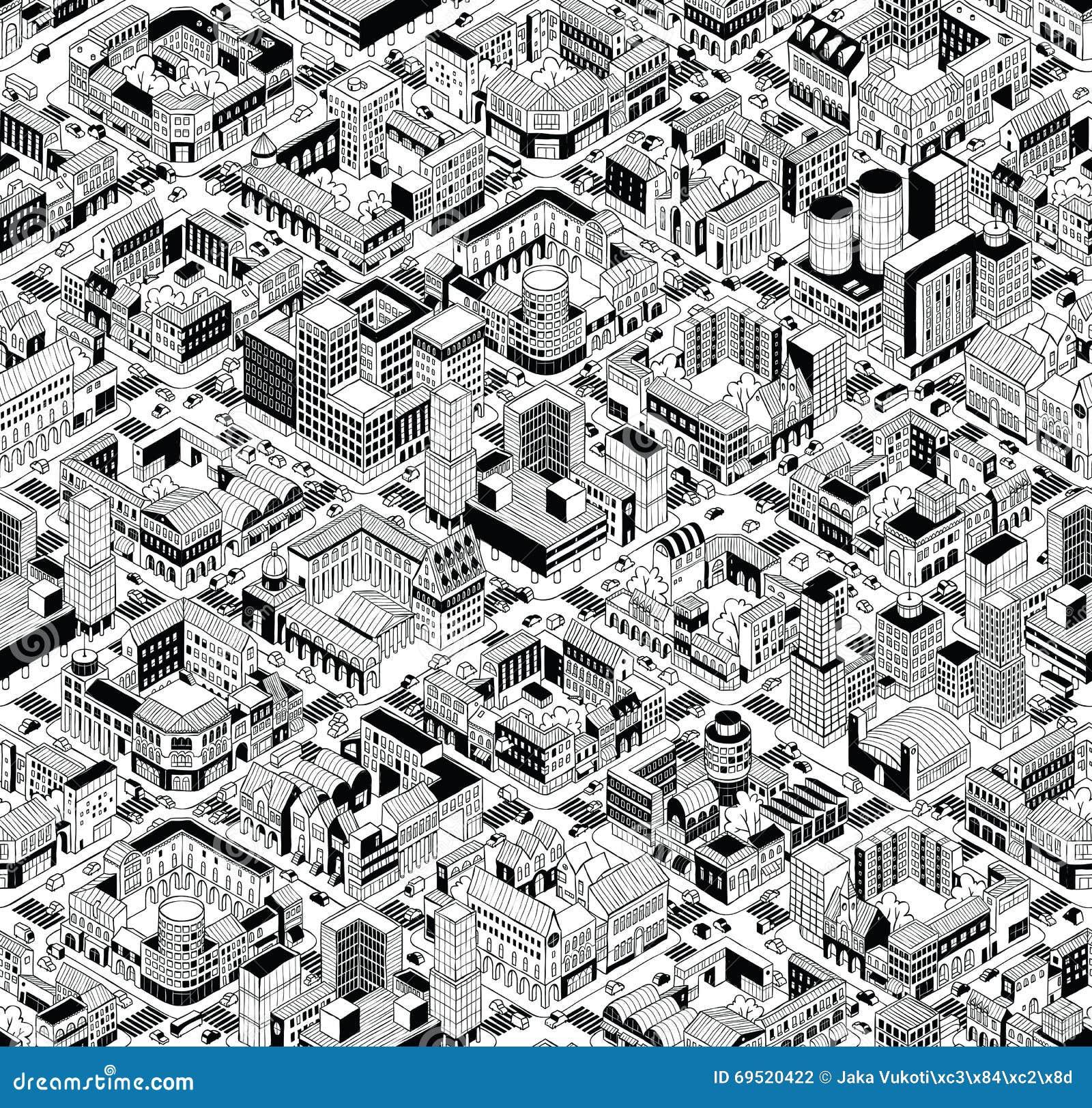 Modèle sans couture isométrique de blocs urbains de ville - grand