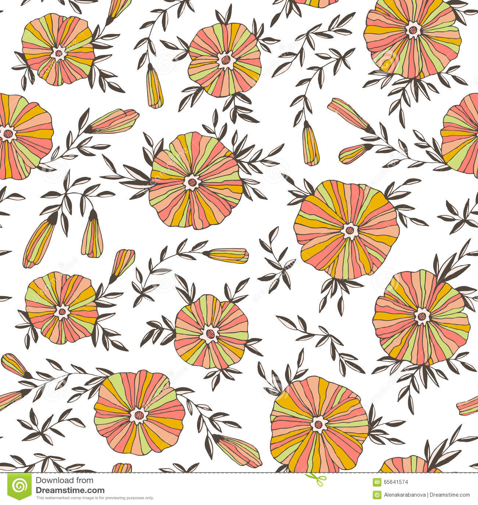 Modèle sans couture léger avec les fleurs élégantes