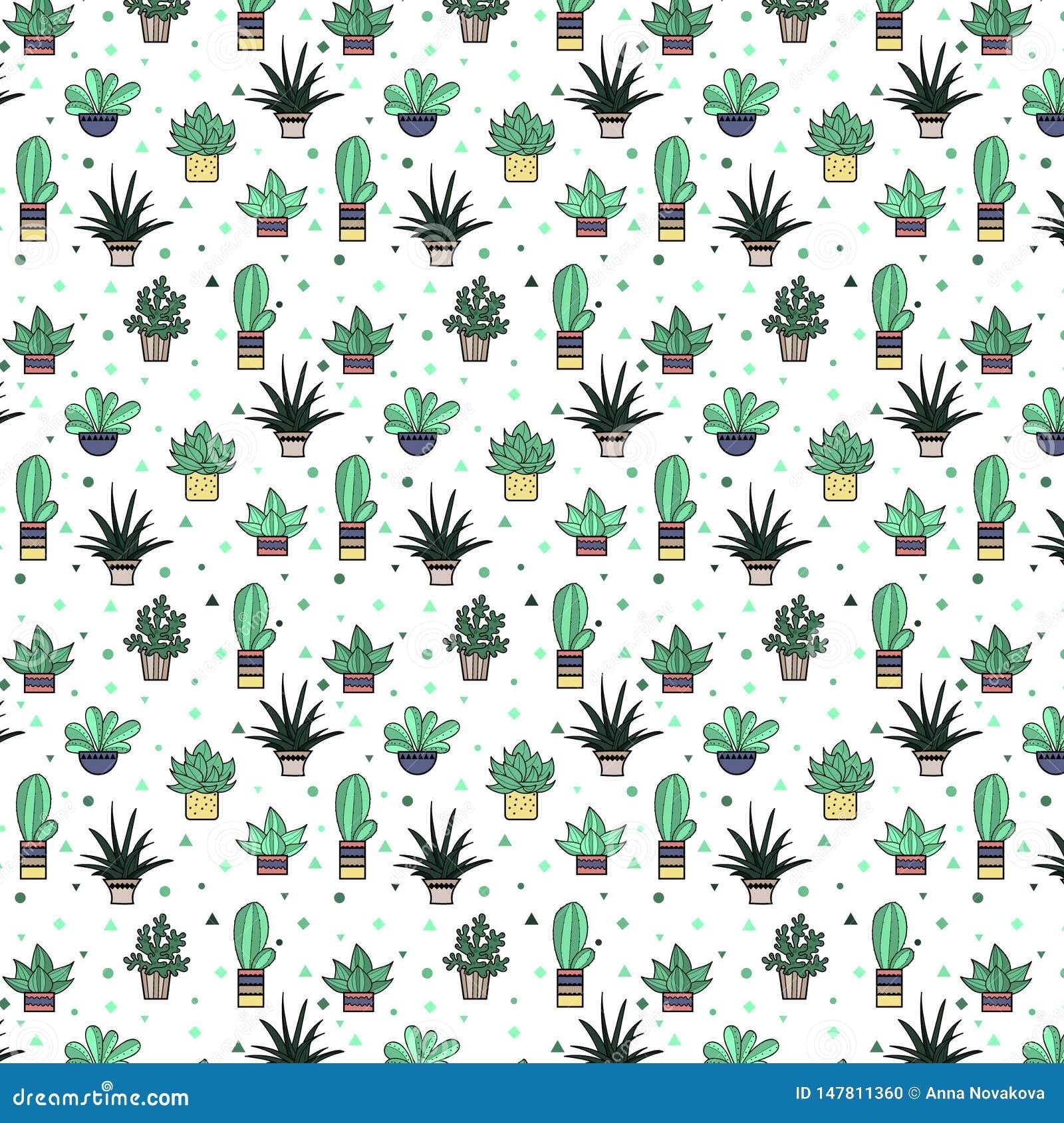 Mod?le sans couture mignon avec le cactus et les ?l?ments abstraits R?p?tition du fond tir? par la main Conception dernier cri de