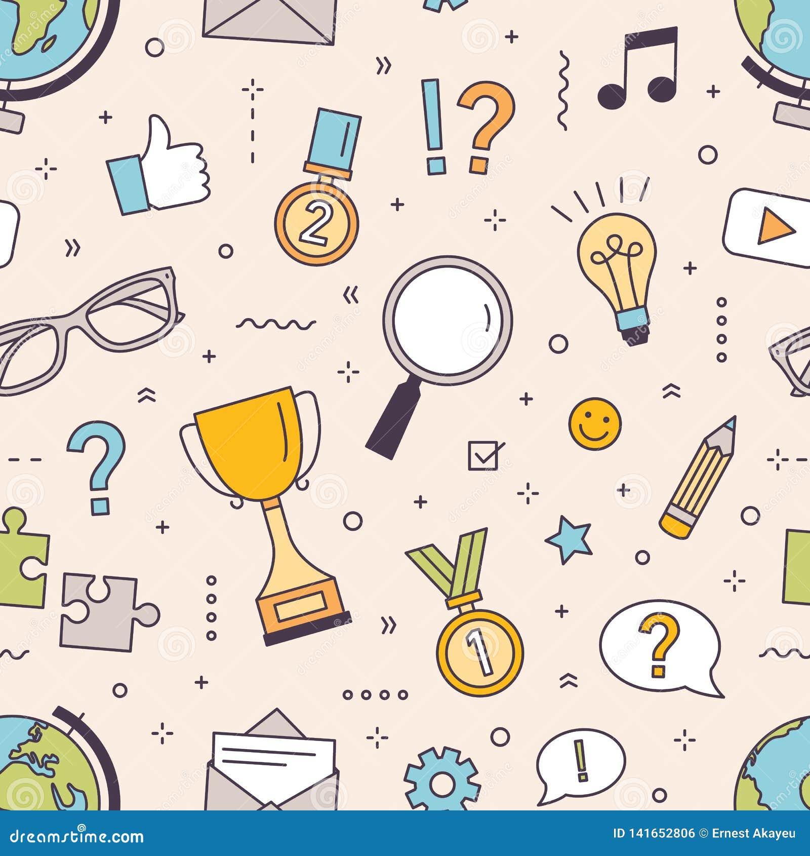 Modèle sans couture moderne avec le puzzle, concurrence dans des questions de réponse de jeu-concours ou éléments intellectuels d
