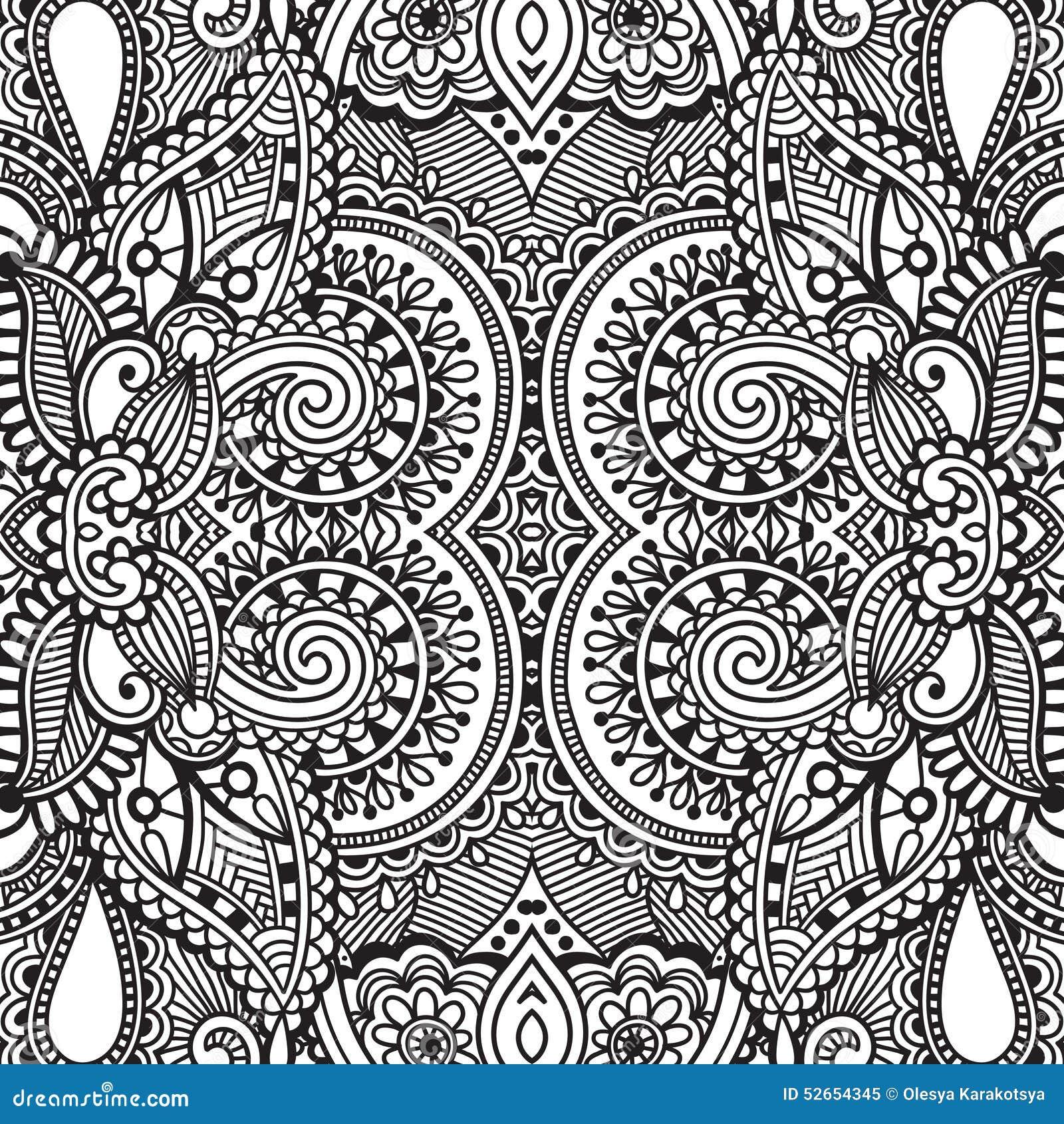 Modèle sans couture noir et blanc, dessin de main