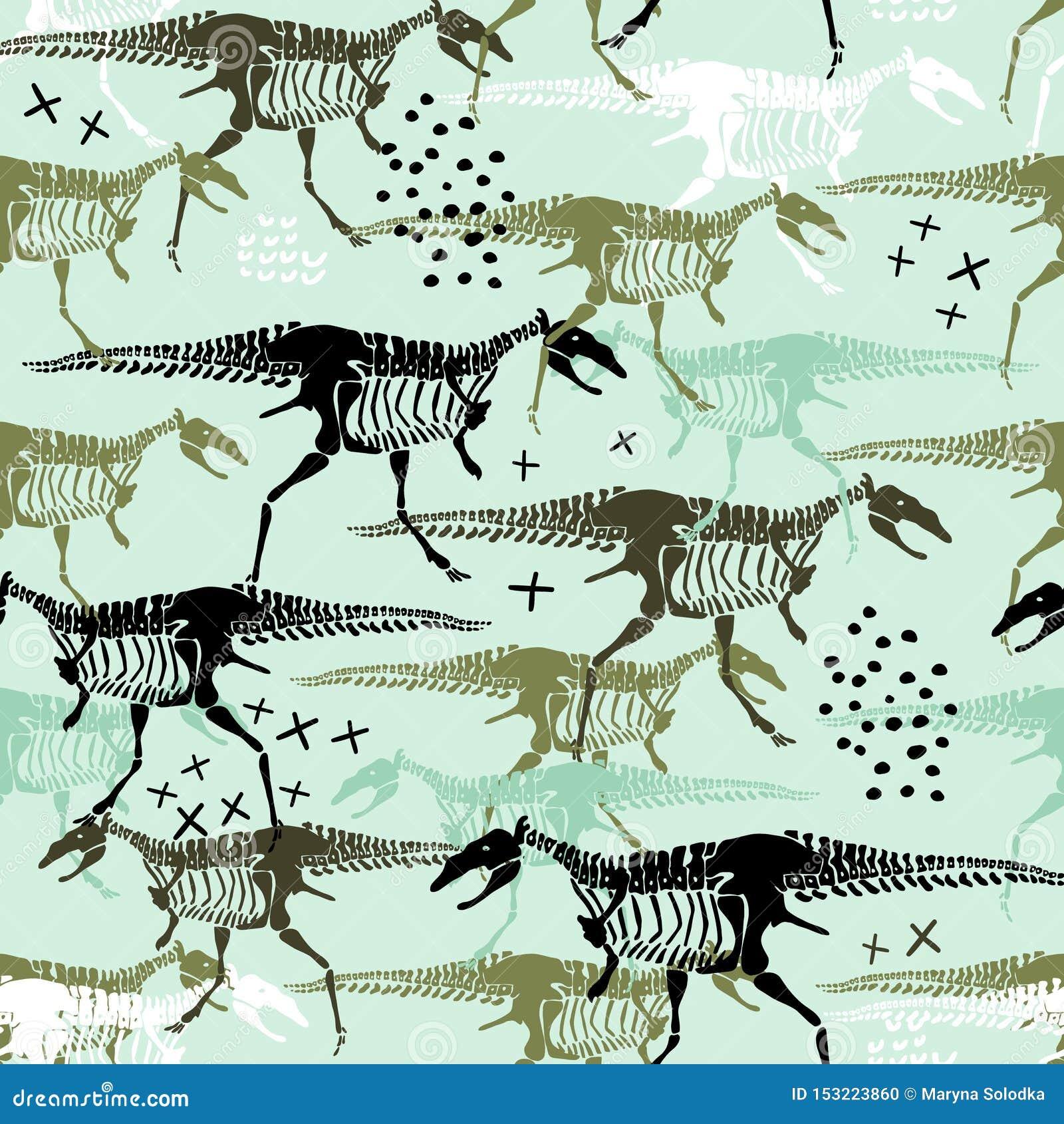 Modèle sans couture puéril avec des squelettes et des os de dinosaures Fond scandinave ? la mode de vecteur Perfectionnez pour l