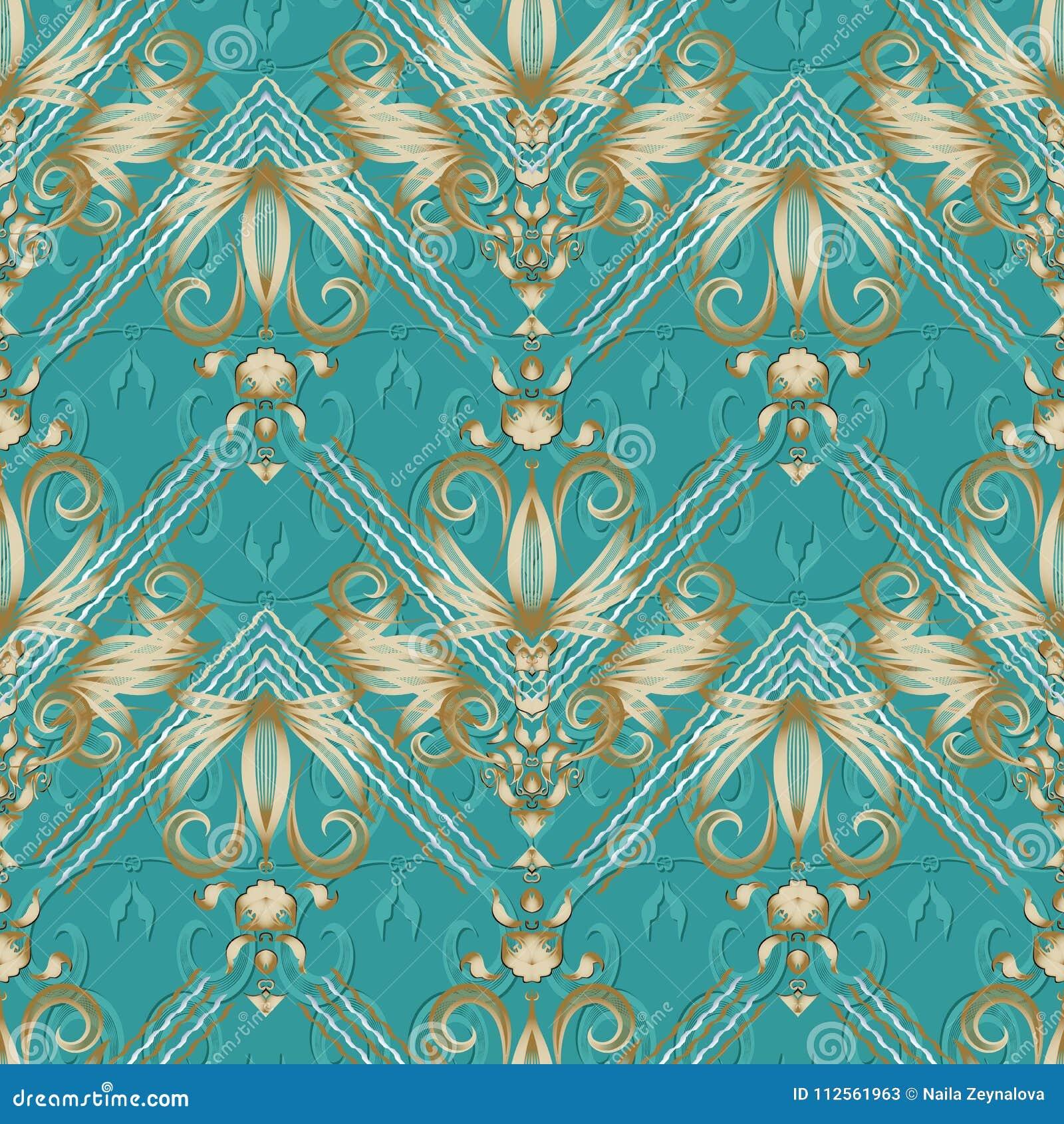 Modèle sans couture rayé floral de vintage Backgr de vecteur de turquoise