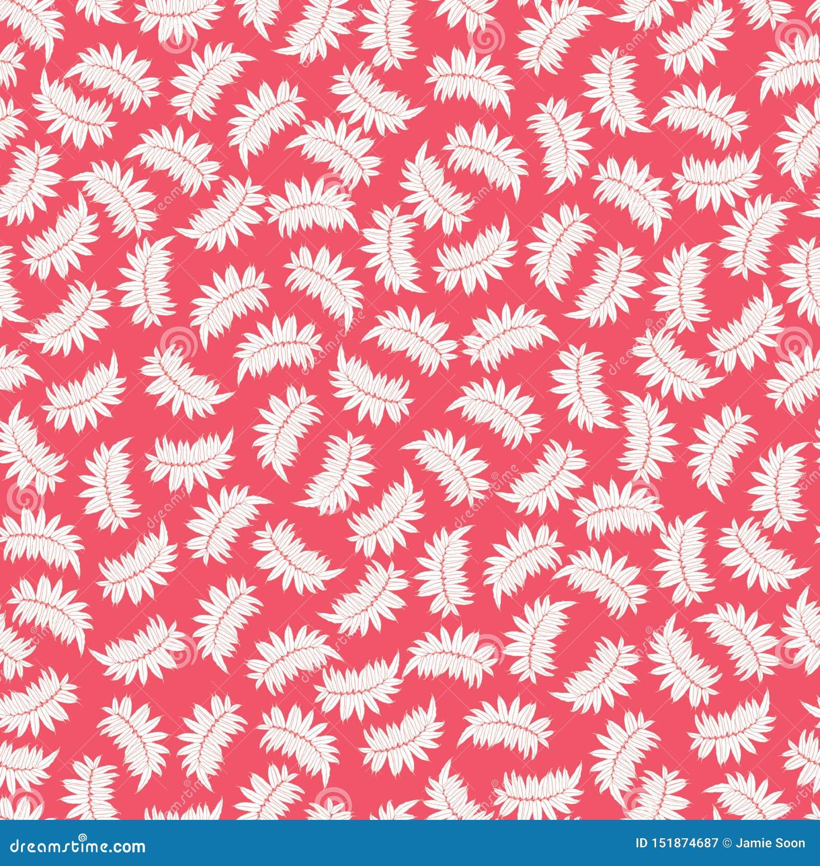 Modèle sans couture rouge de vecteur avec les feuilles tropicales Approprié au textile, à l enveloppe de cadeau et au papier pein