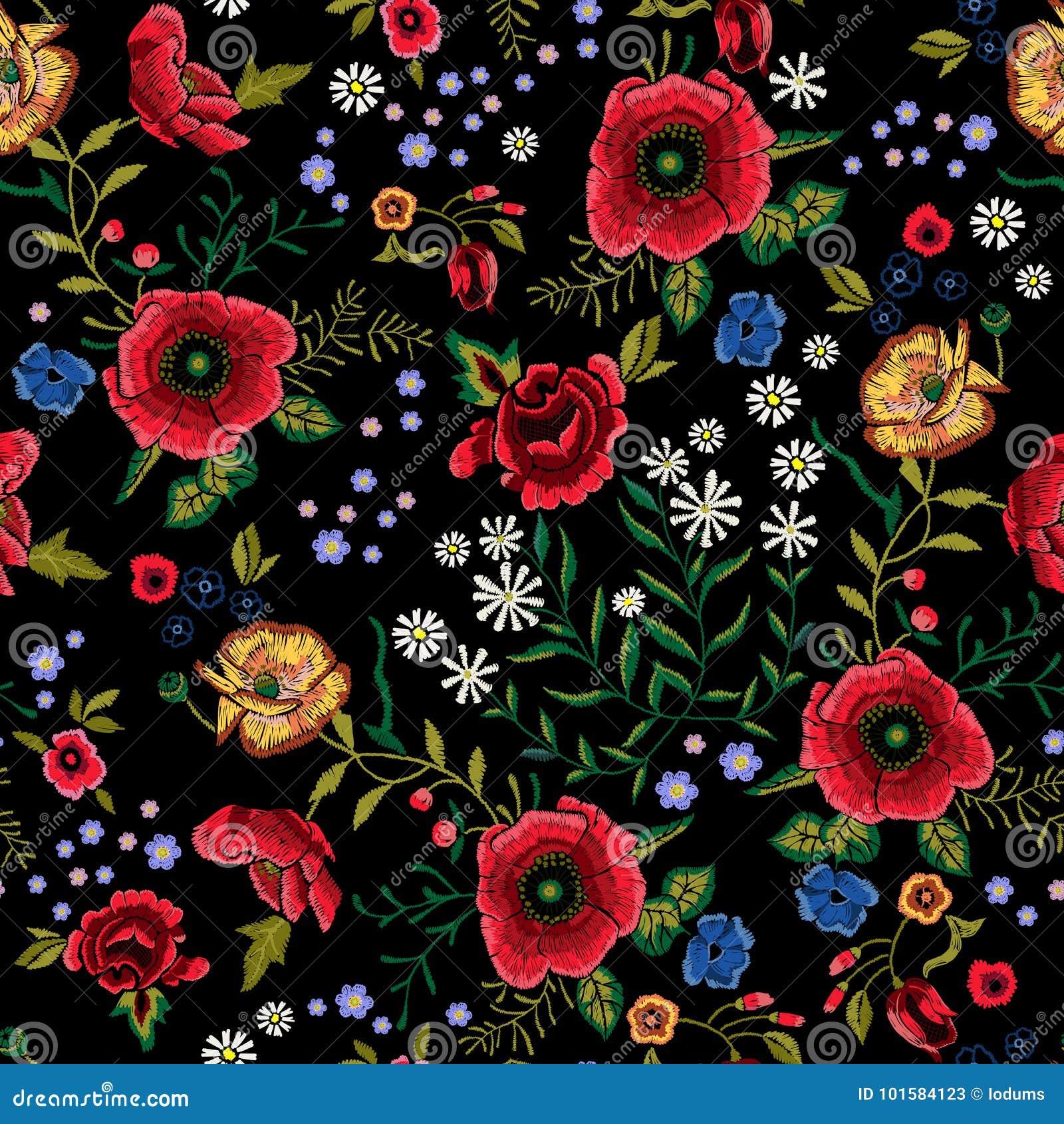 Modèle sans couture traditionnel de broderie avec les pavots et les roses rouges