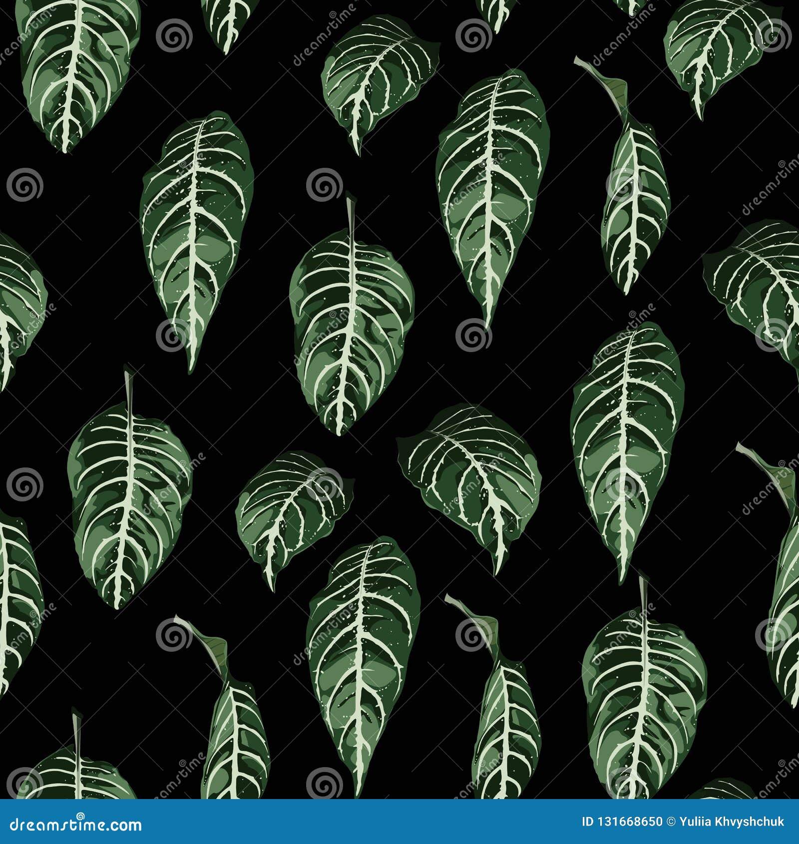 Modèle sans couture tropical avec les feuilles exotiques d arbres