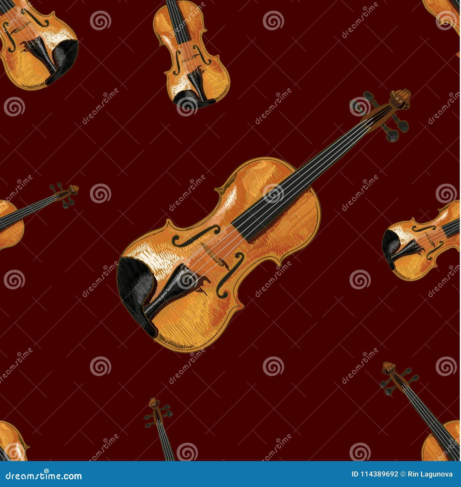Modèle sans couture, VECTEUR Ilustration, violon sur le fond rouge foncé