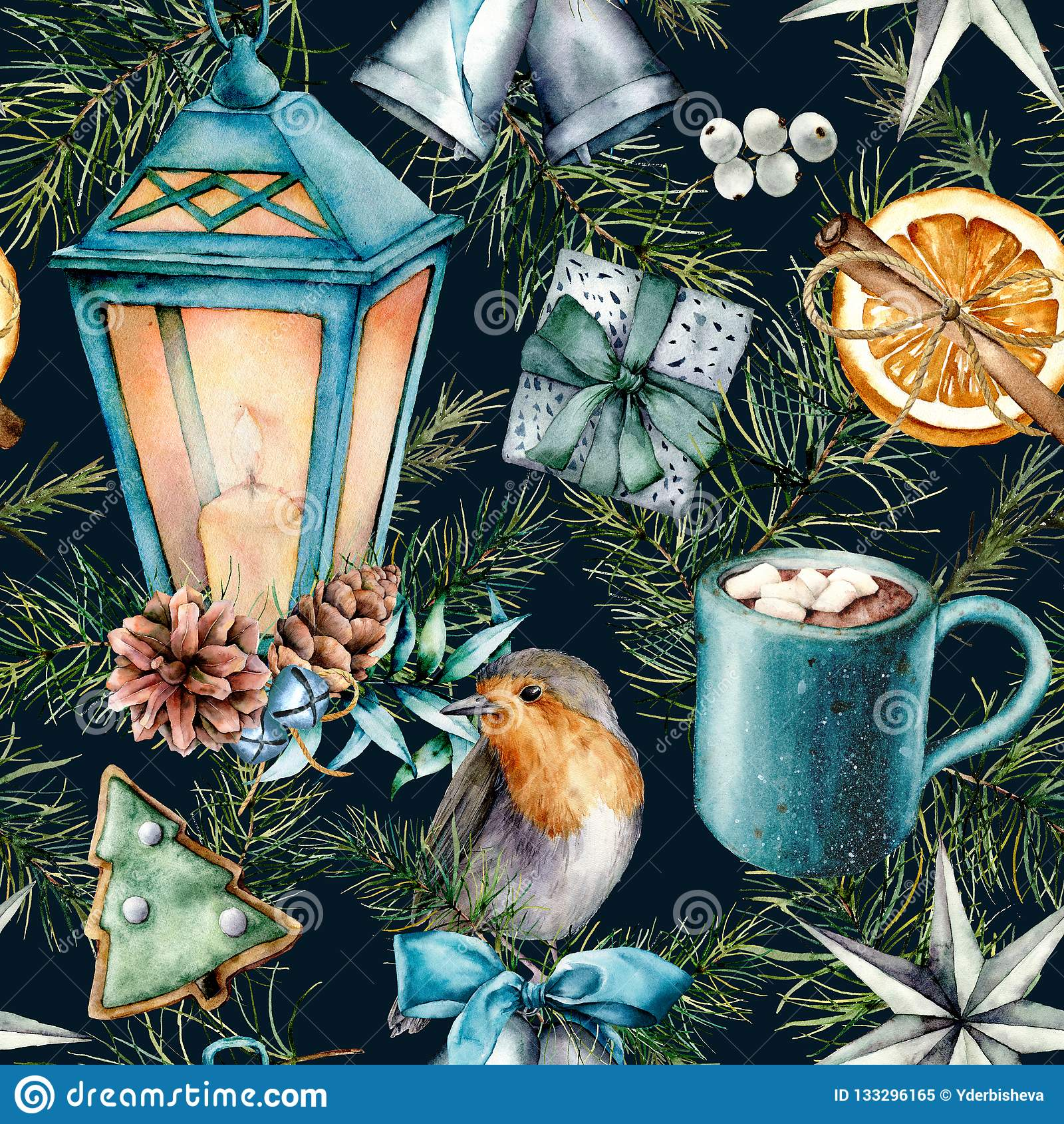 Modèle scandinave d aquarelle de Noël Lanterne peinte à la main, cloches, merle, biscuits, tranche orange, tasse de cacao